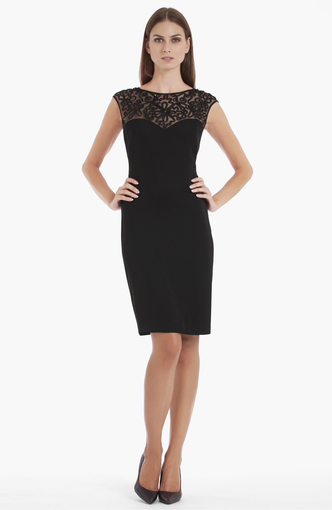 Main Image - JS Collections Illusion Yoke Crepe Sheath Dress