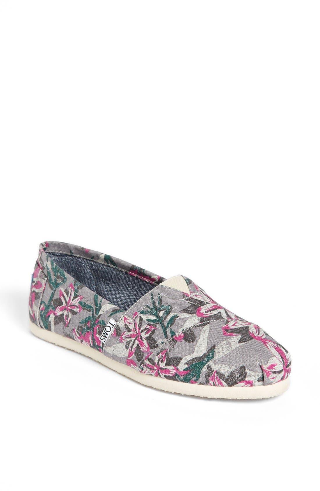 Main Image - TOMS 'Classic - Grey Floral' Vegan Slip-On (Women)