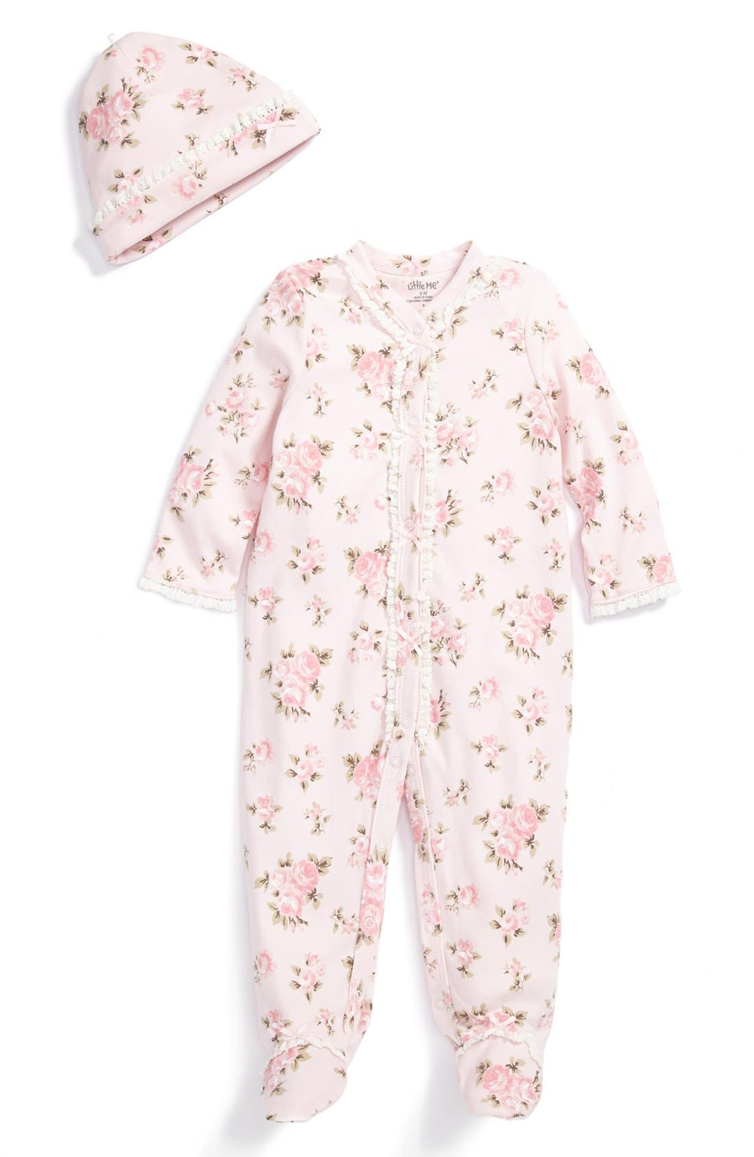 Main Image - Little Me 'Heirloom Rose' Footie & Hat (Baby Girls)
