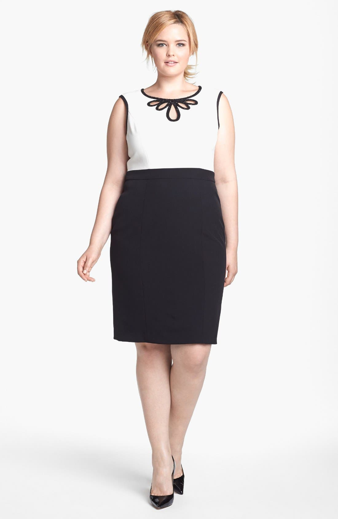 Alternate Image 1 Selected - Adrianna Papell Embellished Crepe Sheath Dress (Plus Size)