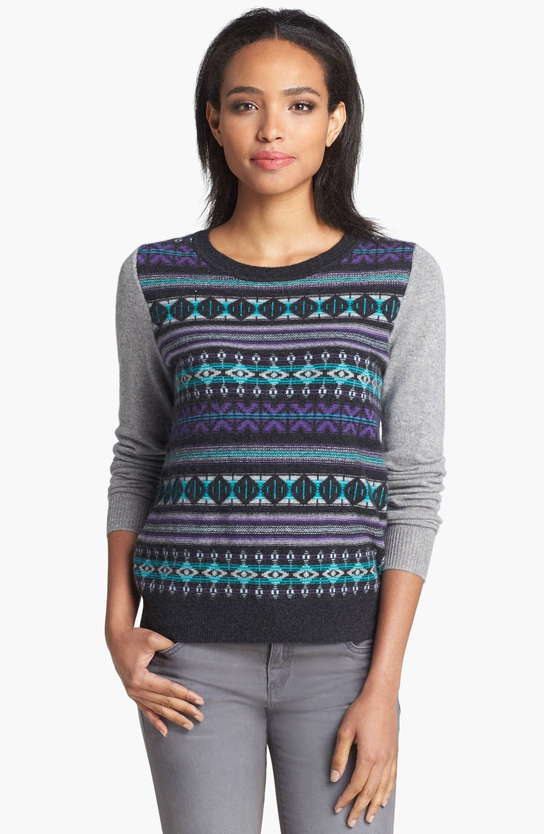Alternate Image 1 Selected - Halogen® Fair Isle Cashmere Sweater