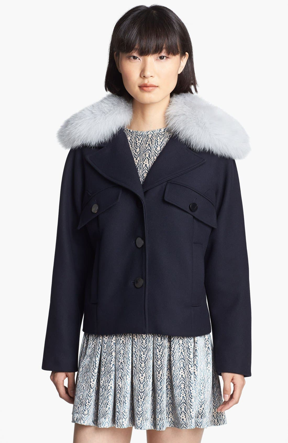 Wool Coat with Genuine Fox Fur Trim,                             Alternate thumbnail 4, color,                             Navy