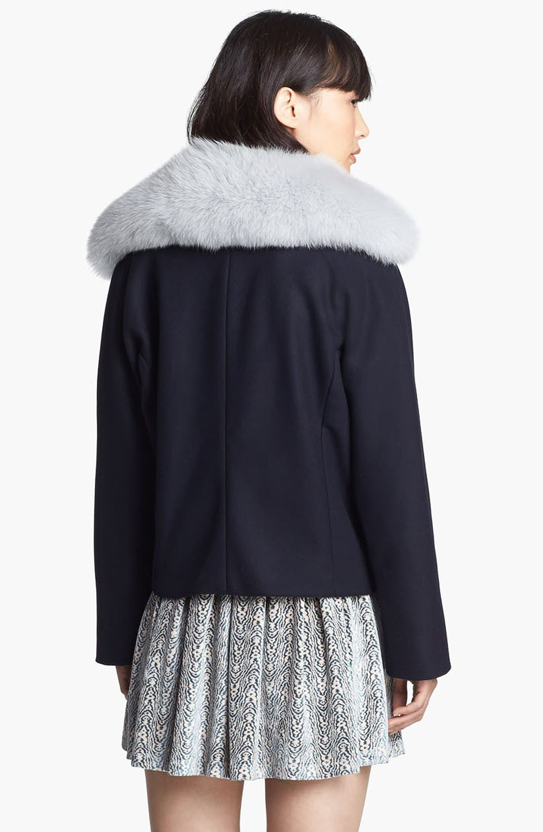 Wool Coat with Genuine Fox Fur Trim,                             Alternate thumbnail 3, color,                             Navy