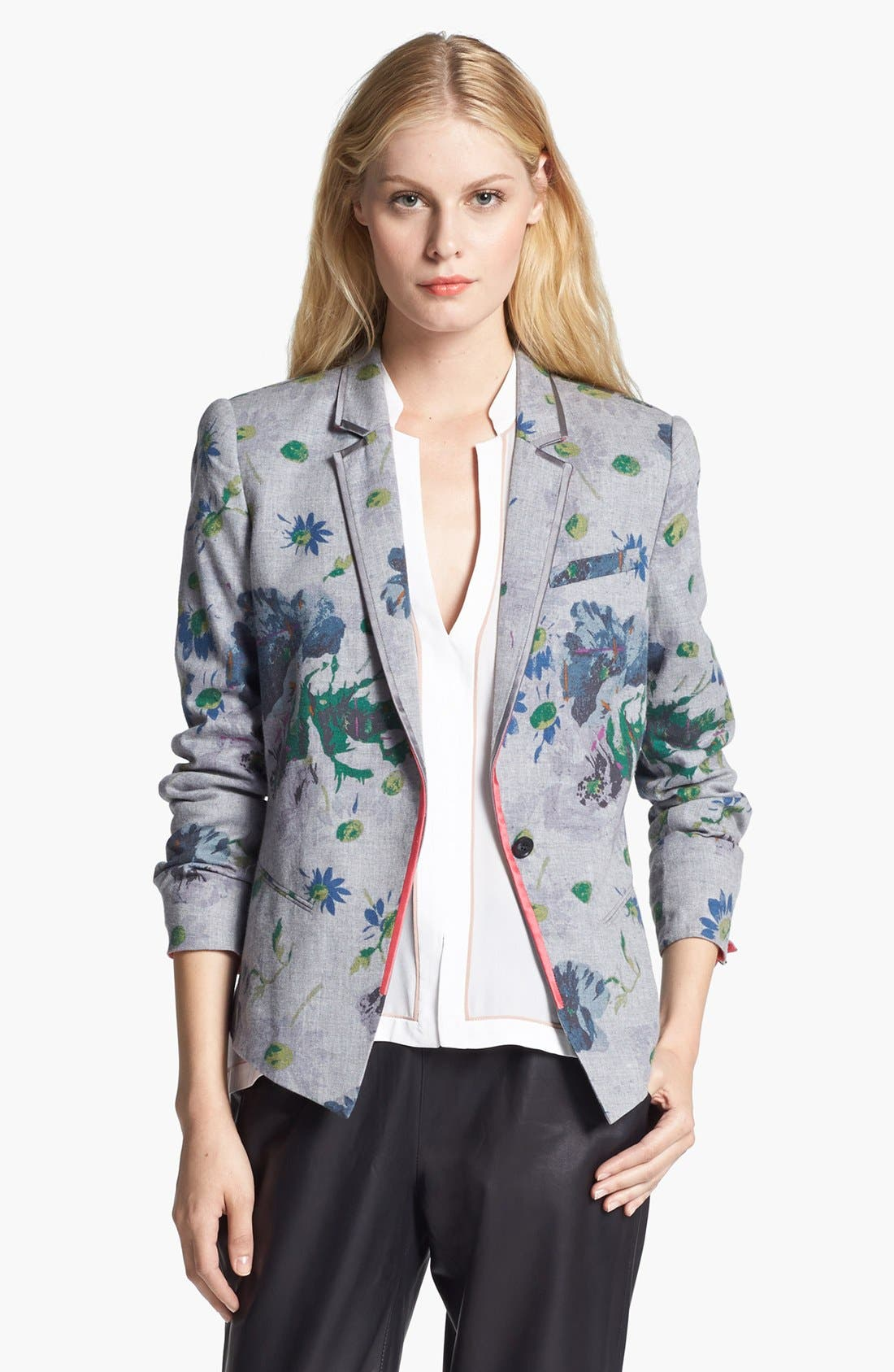 Alternate Image 1 Selected - Elizabeth and James 'Bourne' Floral Print Flannel Jacket