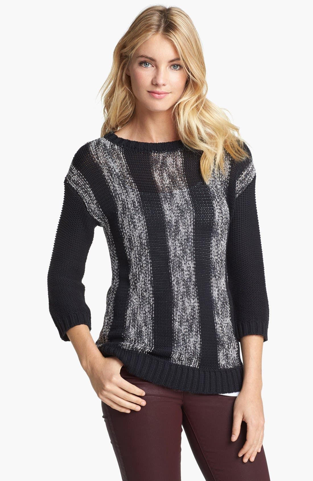 Alternate Image 1 Selected - Two by Vince Camuto Mix Stitch Sweater (Online Only)