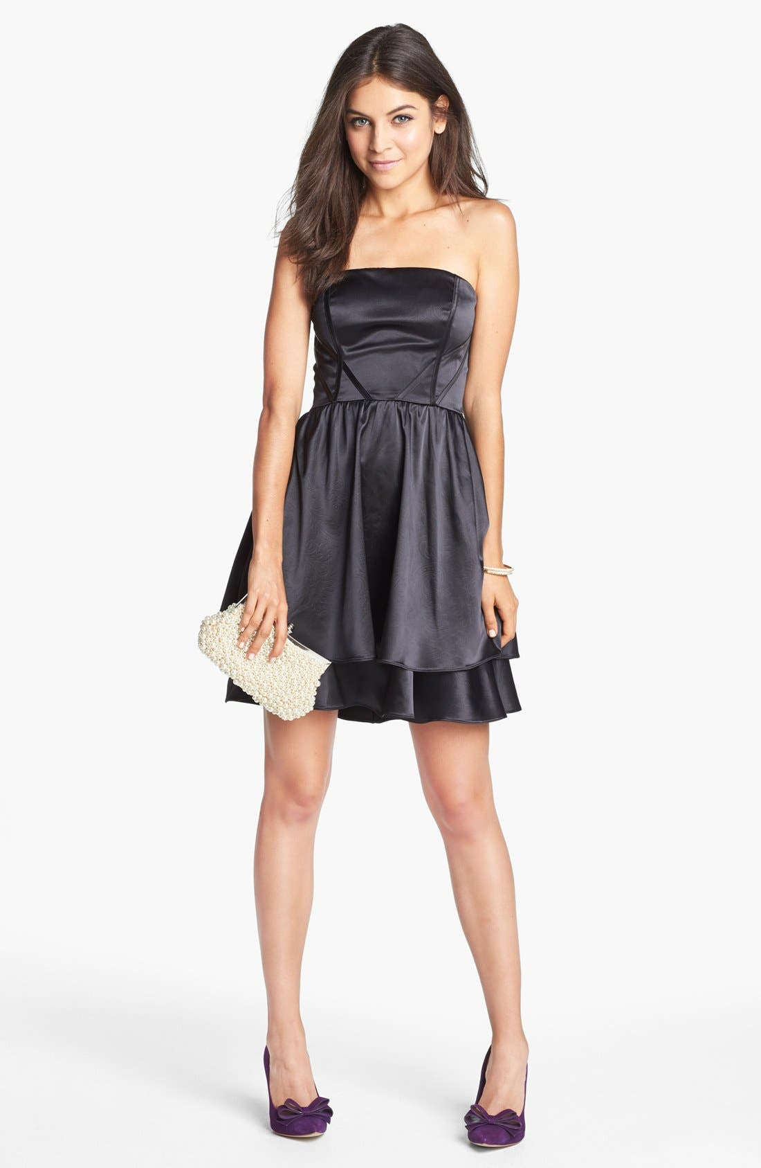 Alternate Image 1 Selected - Hailey by Adrianna Papell Patterned Satin Fit & Flare Dress