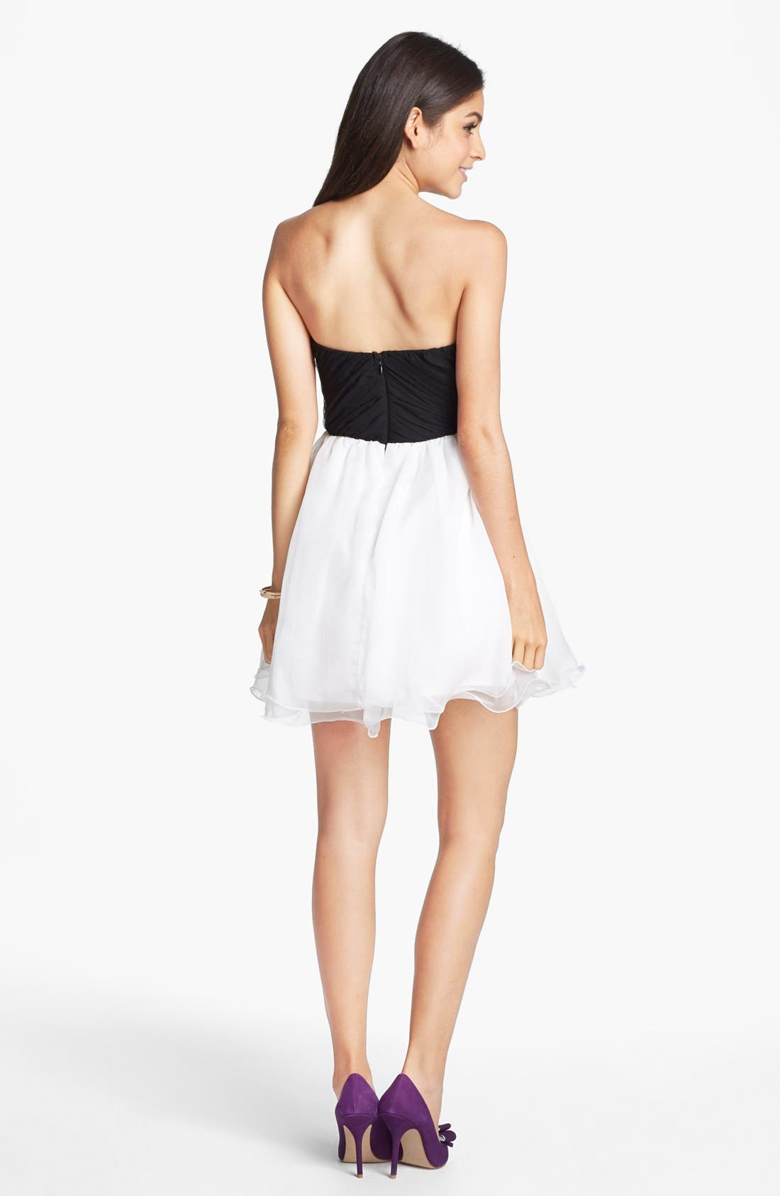 Alternate Image 2  - Secret Charm Jeweled Mesh Fit & Flare Dress (Juniors) (Online Only)