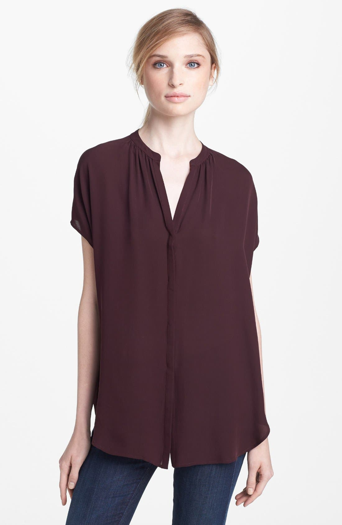 Main Image - Vince 'Popover' Cap Sleeve Silk Blouse