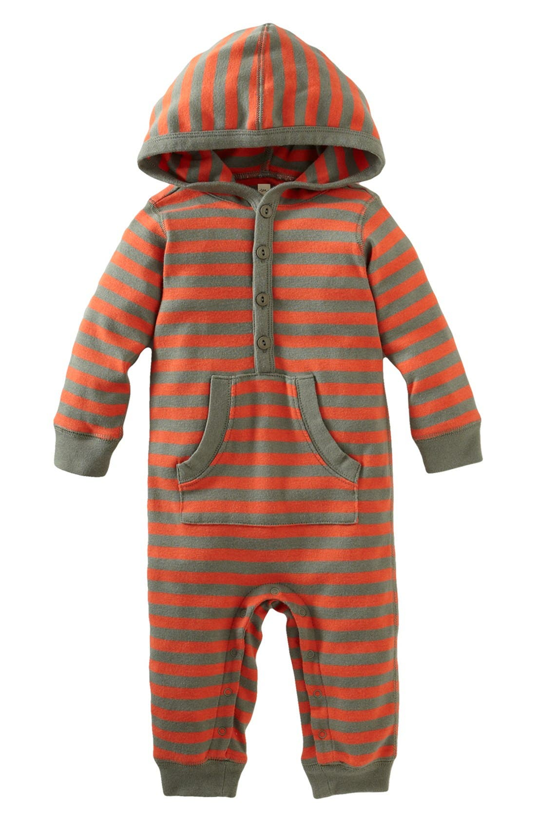 Main Image - Tea Collection 'City Stripe' Hooded Henley Romper (Baby Boys)