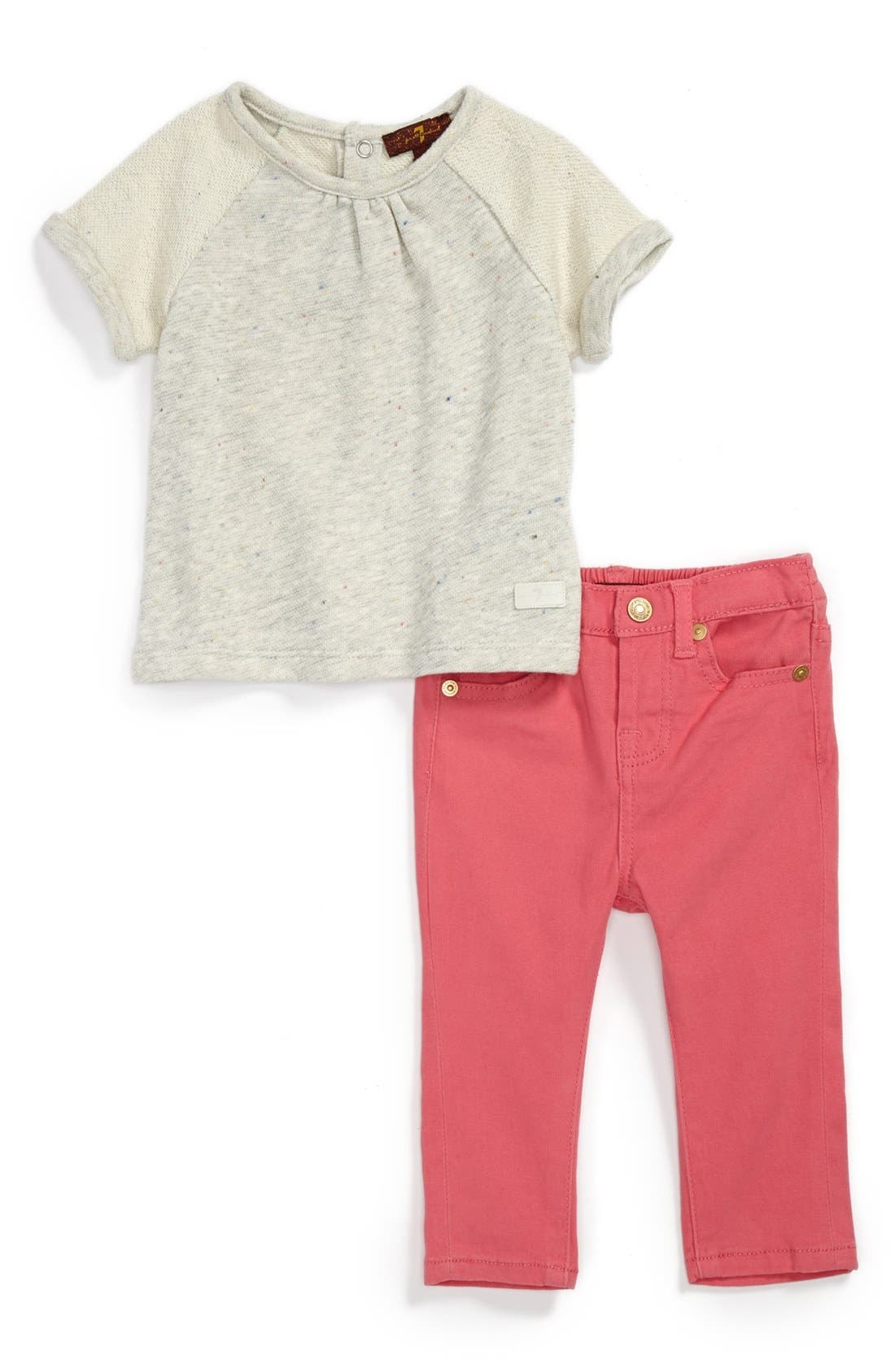 Alternate Image 1 Selected - 7 For All Mankind® Top & Skinny Jeans (Baby Girls)