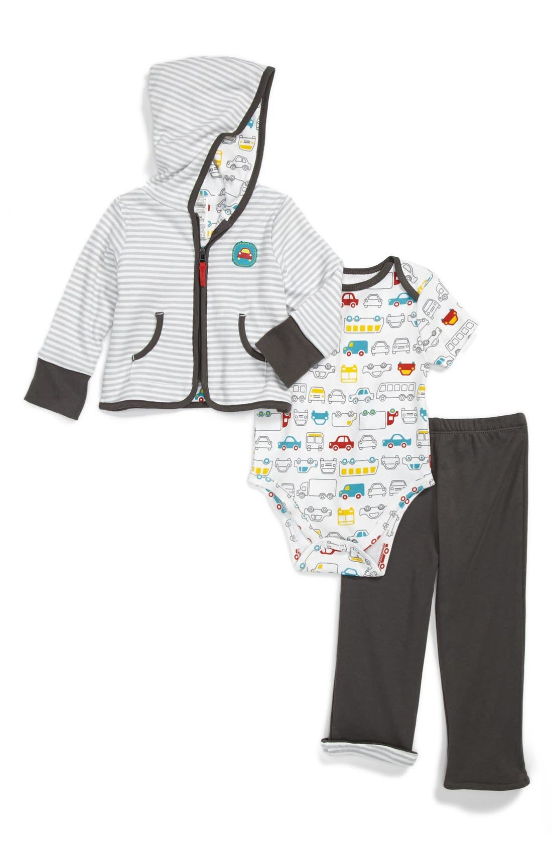 Main Image - Offspring Hoodie, Bodysuit & Pants Set (Baby Boys)