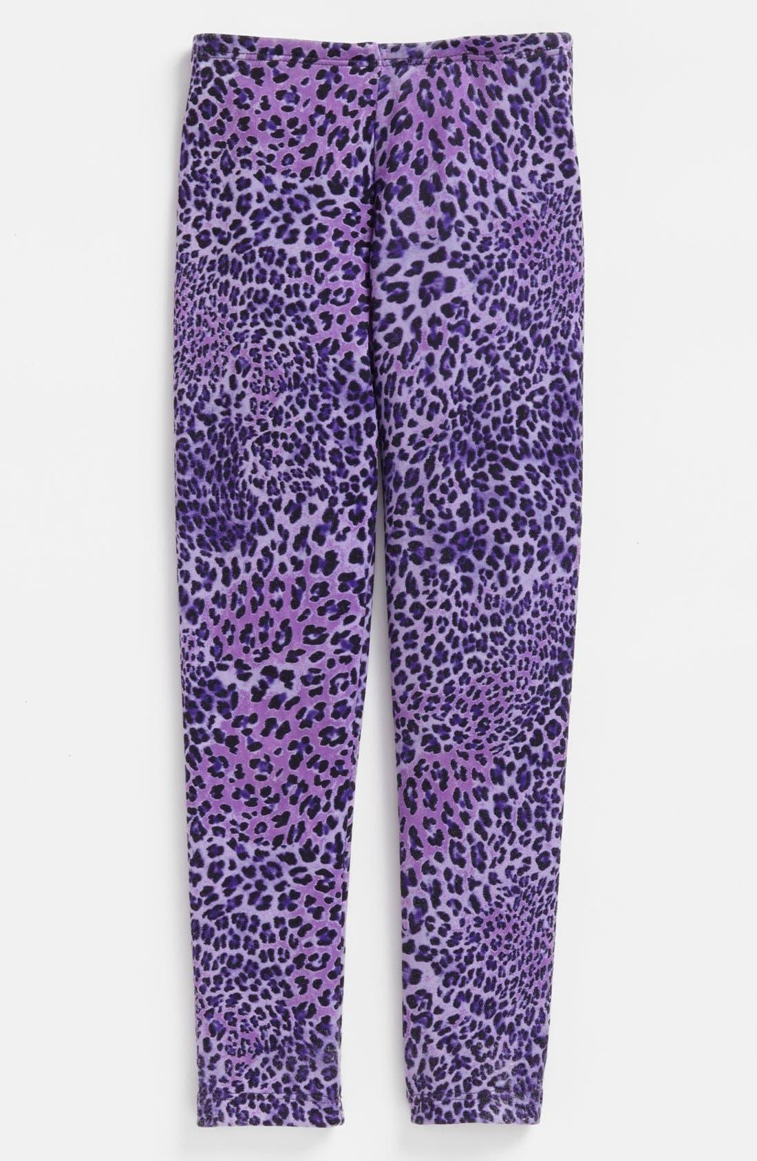 Main Image - TA-EAM Leopard Print Leggings (Little Girls)