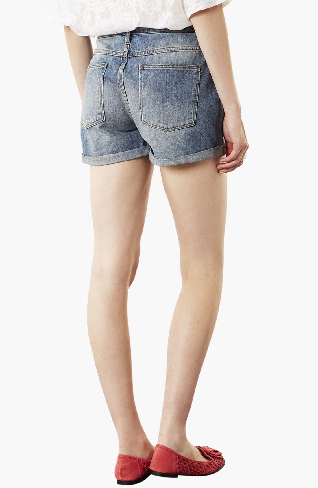 Alternate Image 2  - Topshop Moto 'Dirty Boy' Distressed Denim Shorts