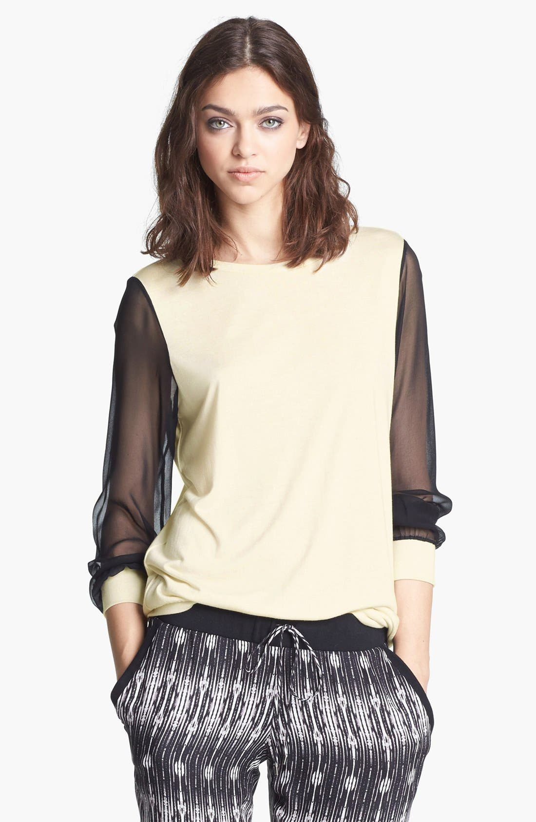 Chiffon Sleeve Sweatshirt,                         Main,                         color, Swan/ Black