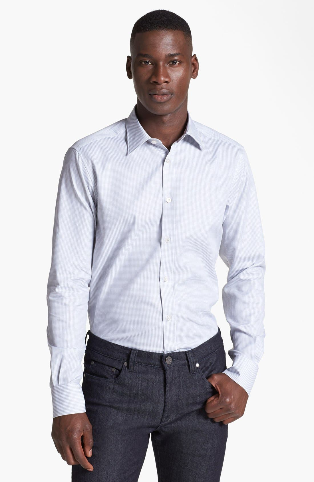 Alternate Image 1 Selected - Z Zegna Slim Fit Microcheck Woven Shirt