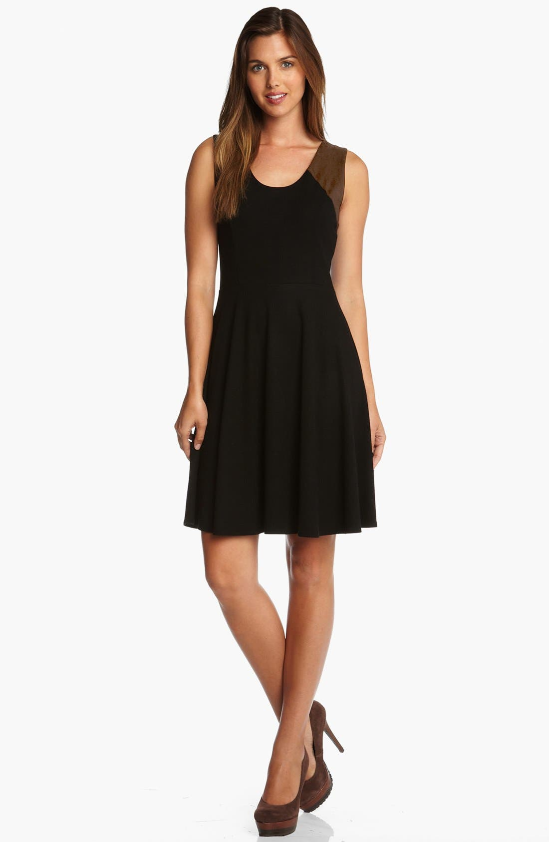 Main Image - Karen Kane Faux Suede Panel Flare Dress