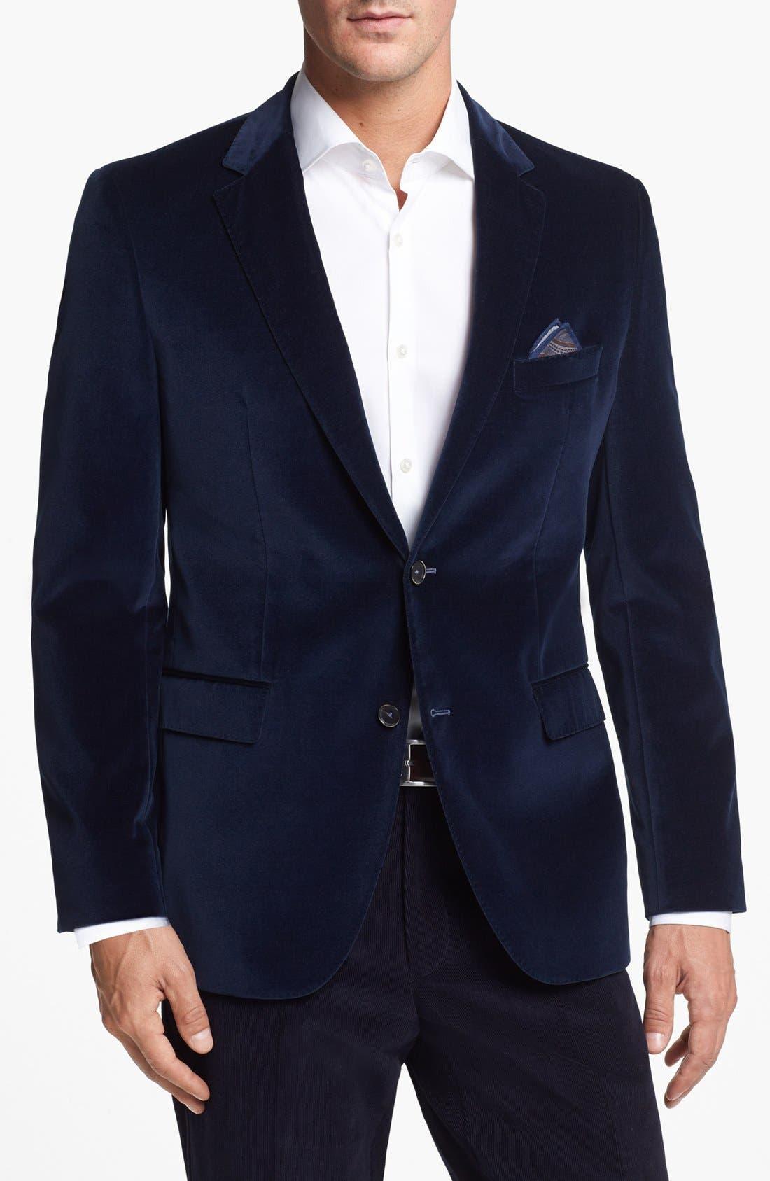 Alternate Image 1 Selected - BOSS HUGO BOSS 'The Keys' Trim Fit Velvet Blazer