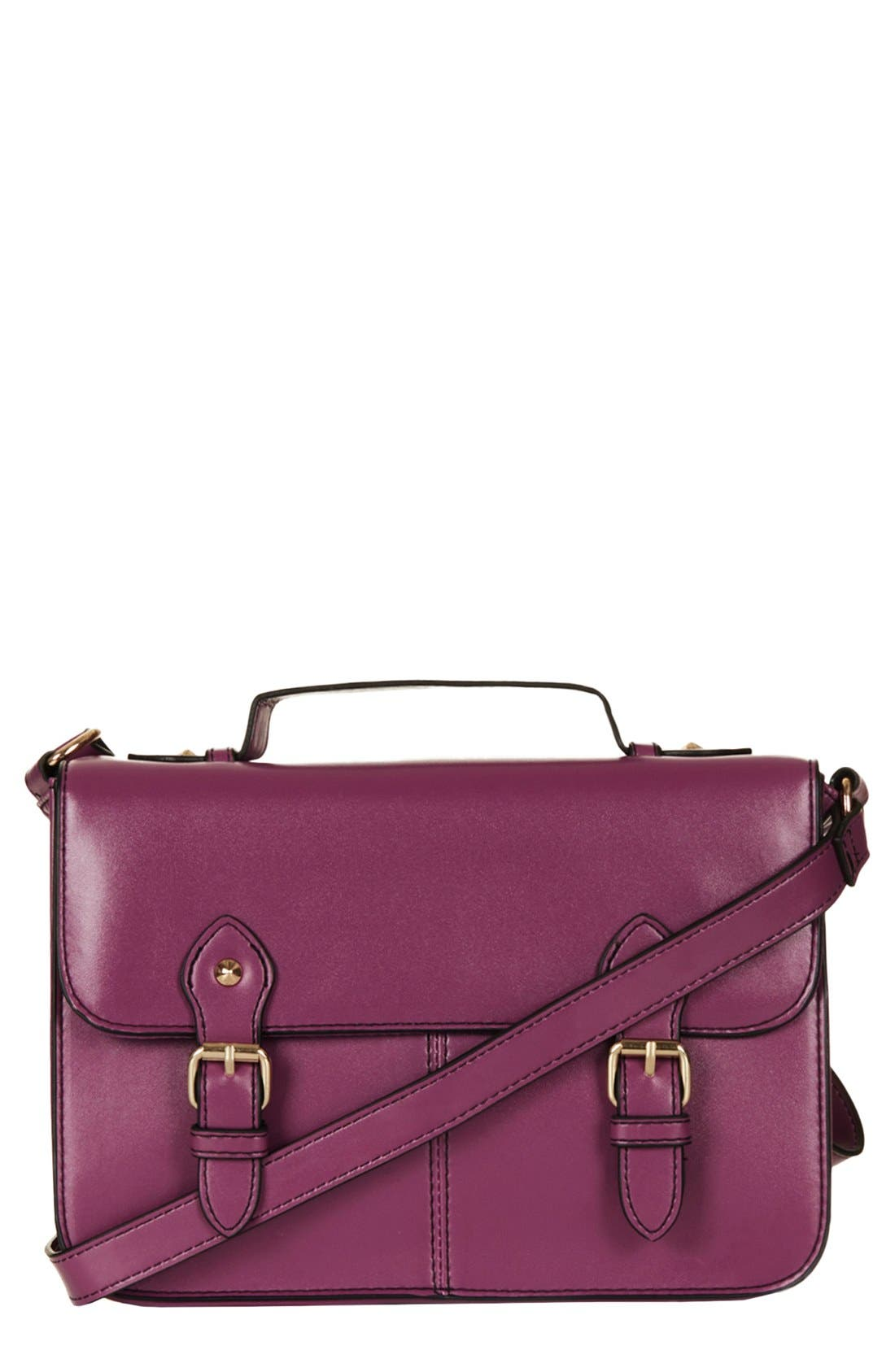 Alternate Image 1 Selected - Topshop 'Edge Paint' Faux Leather Satchel, Small