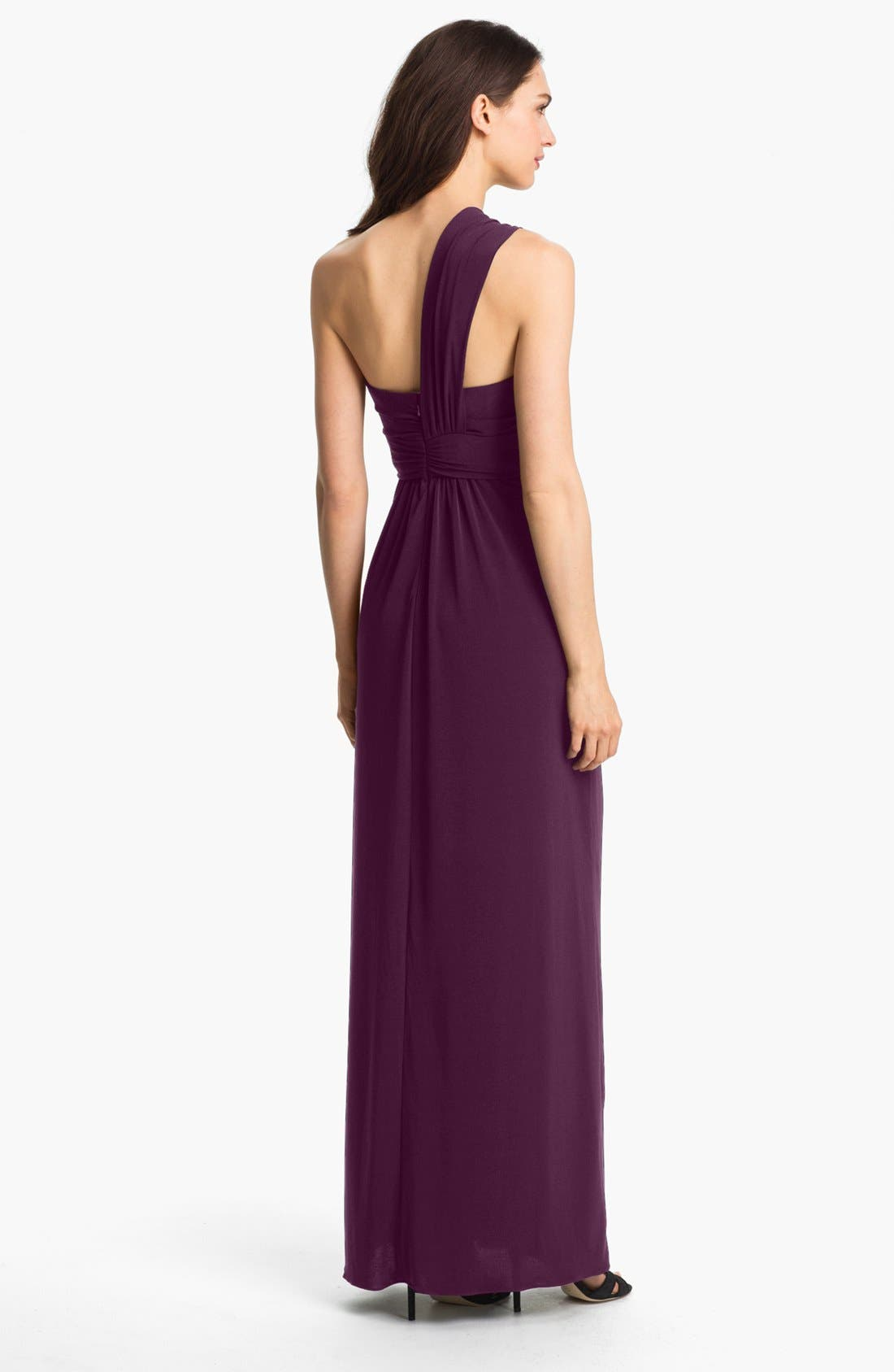 Alternate Image 2  - Amsale One-Shoulder Jersey Dress