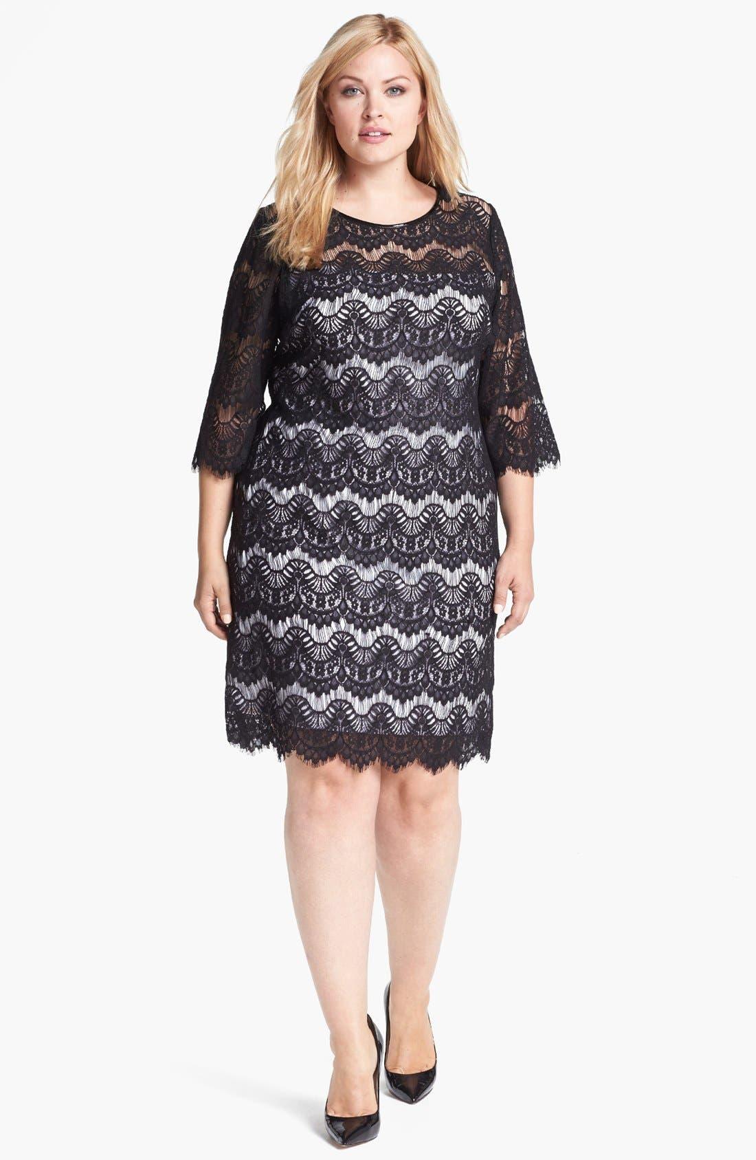 Main Image - Calvin Klein Faux Leather Trim Lace Dress (Plus Size)