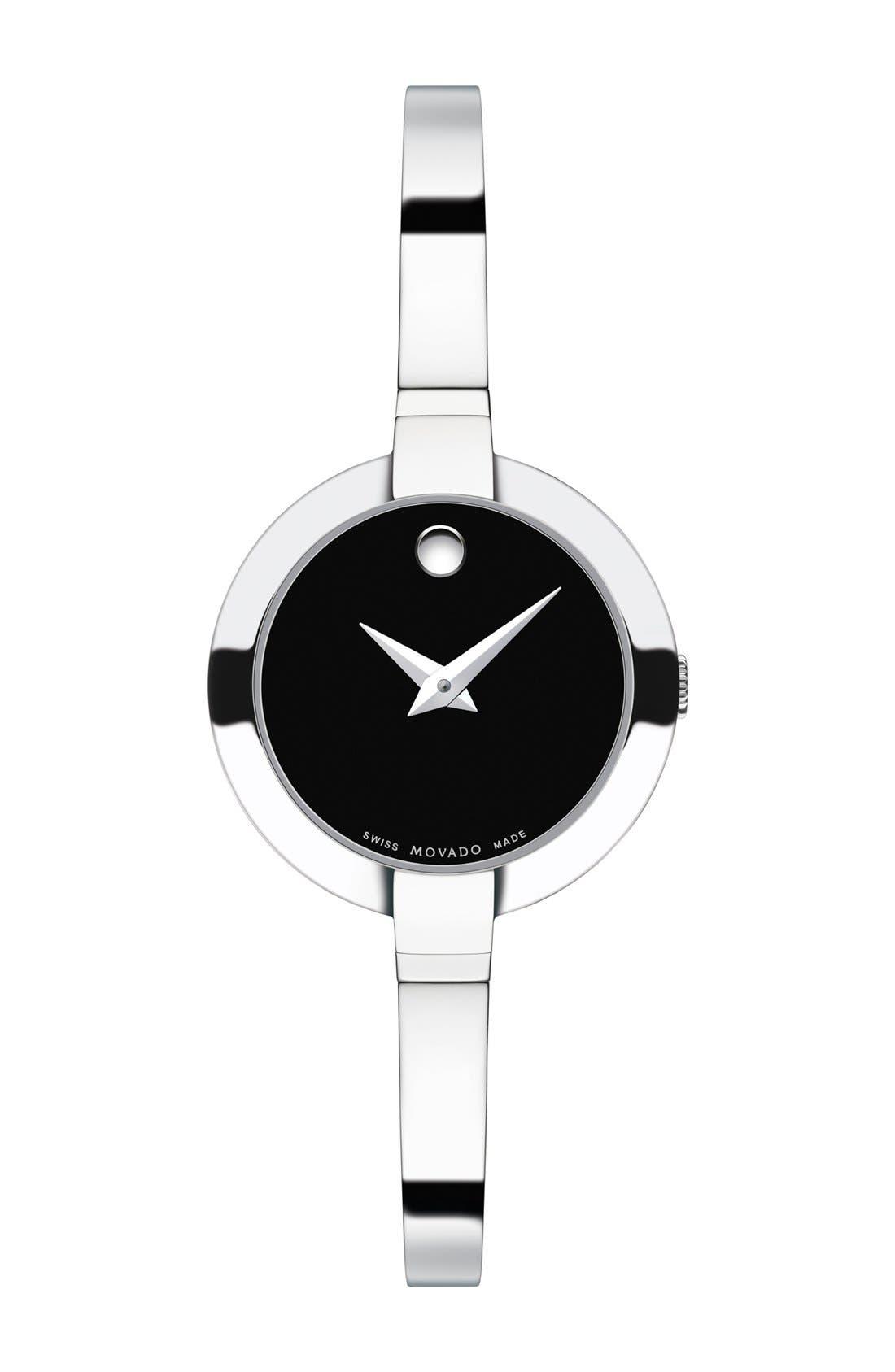 'Bela' Bangle Watch, 25mm,                         Main,                         color, Silver/ Black