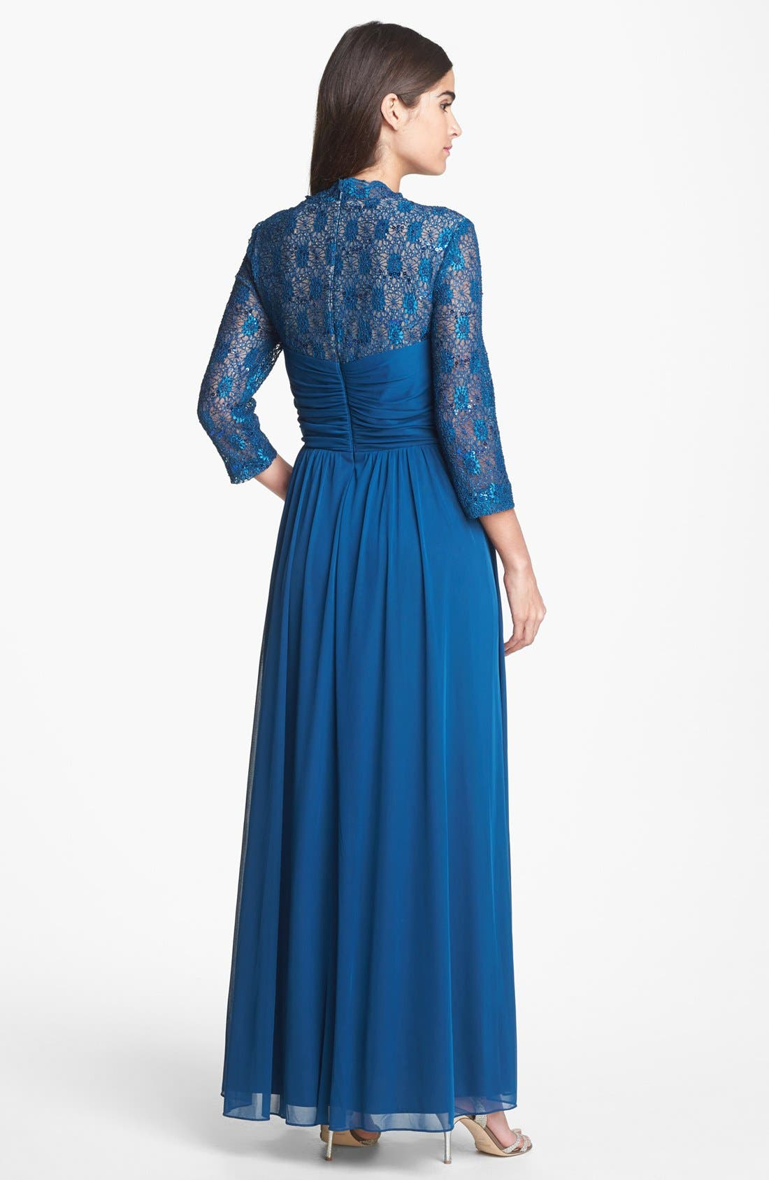 Alternate Image 2  - Alex Evenings Lace & Mesh Gown (Regular & Petite)