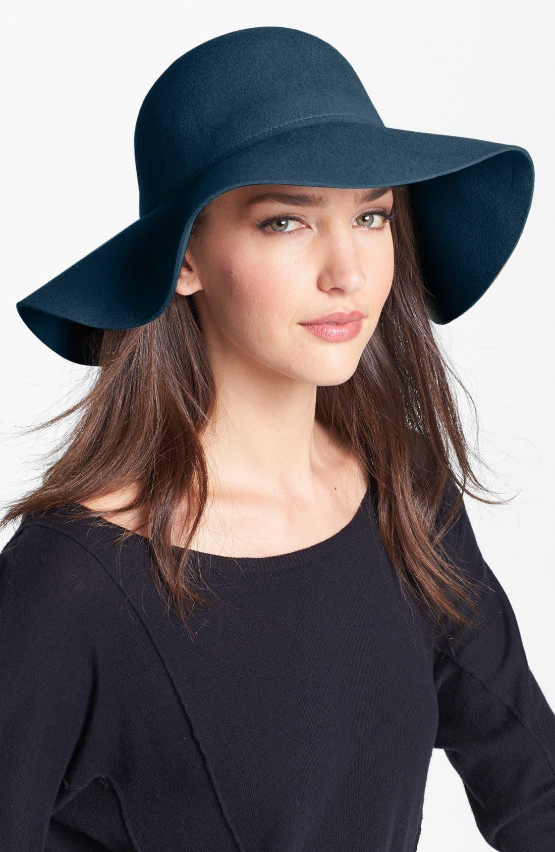 Wool Felt Floppy Brim Hat,                         Main,                         color, Teal