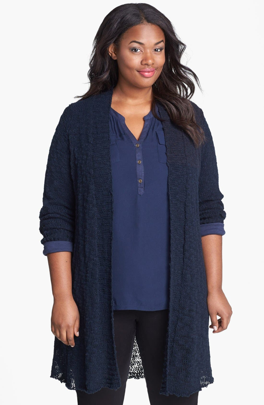 Alternate Image 1 Selected - Lucky Brand 'Alonsa' Mixed Knit Cardigan (Plus Size)