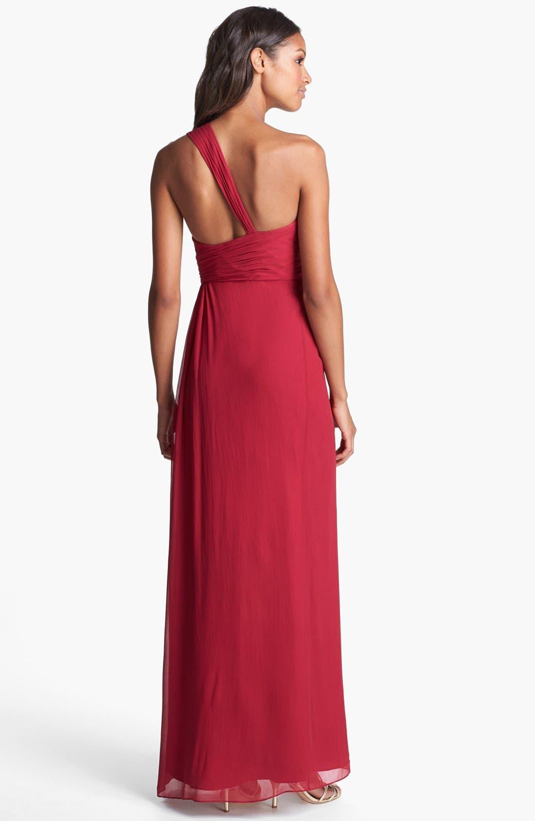 Alternate Image 2  - Aidan Mattox One Shoulder Silk Gown