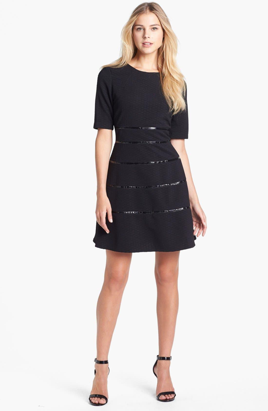 Alternate Image 1 Selected - Taylor Dresses Textured Fit & Flare Dress
