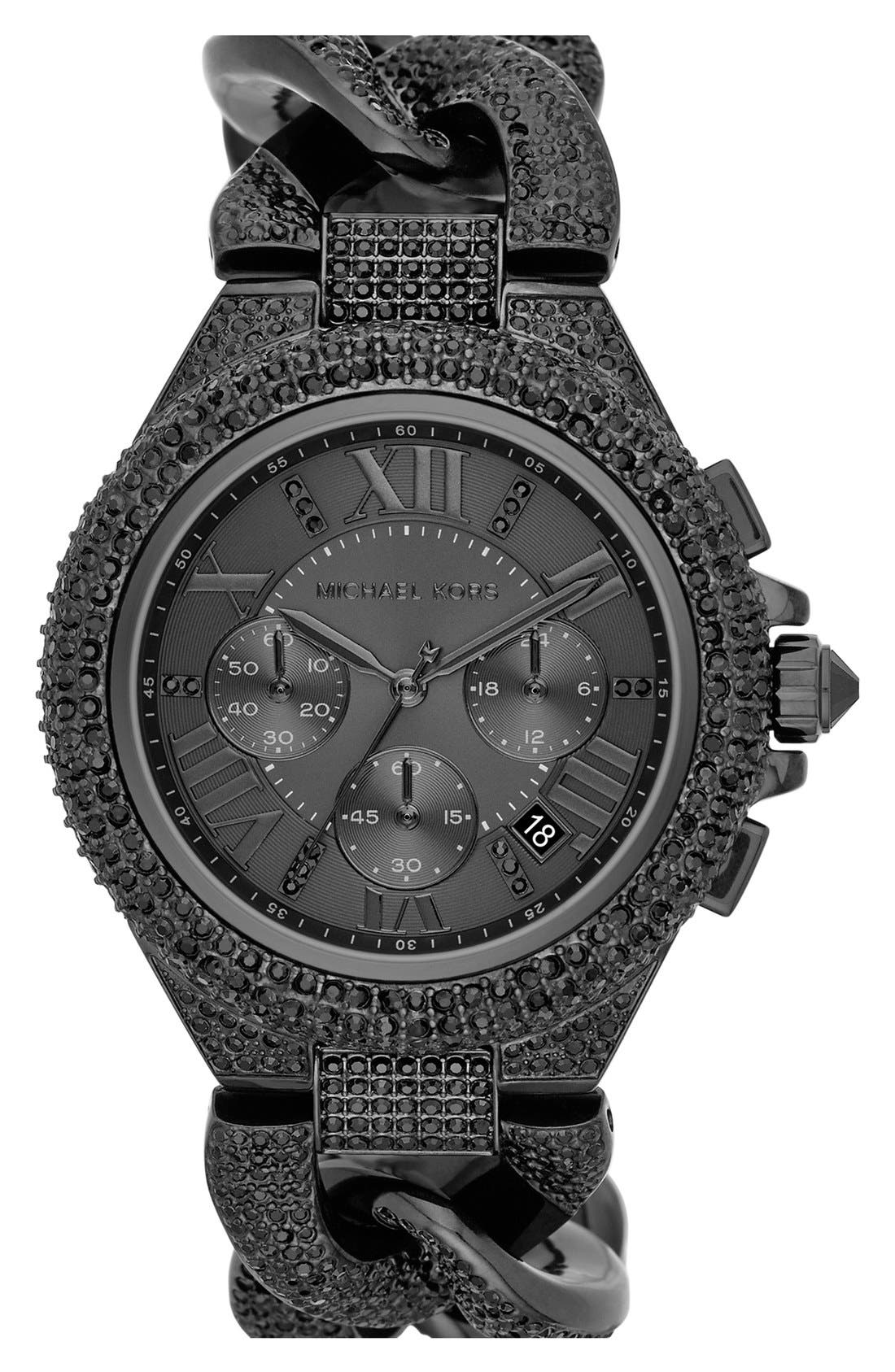 Alternate Image 1 Selected - Michael Kors 'Camille' Crystal Encrusted Chain Link Watch, 44mm