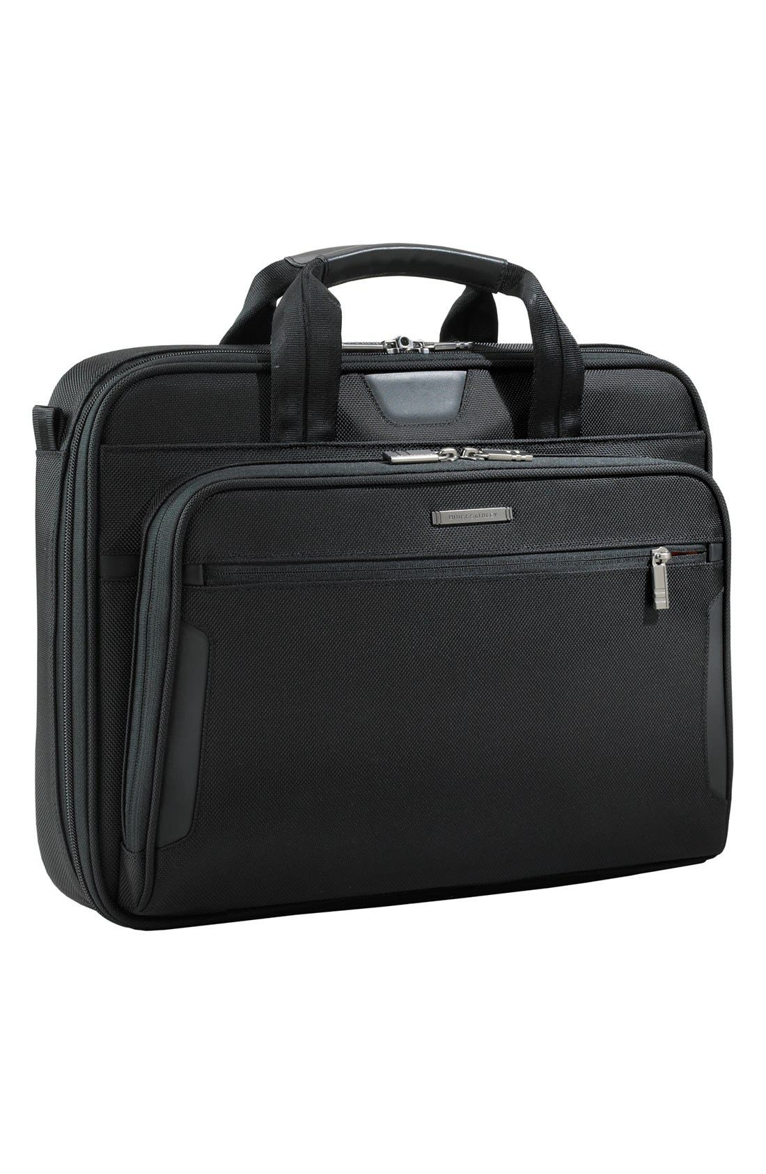 'Medium Slim' Ballistic Nylon Briefcase,                             Main thumbnail 1, color,                             Black