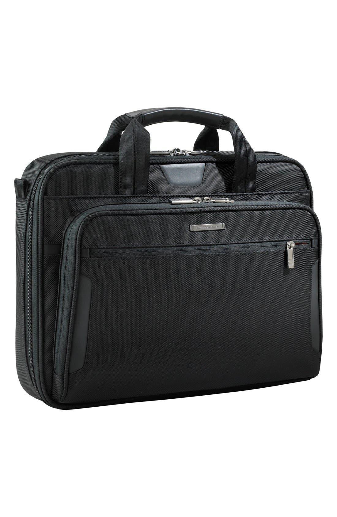 'Medium Slim' Ballistic Nylon Briefcase,                         Main,                         color, Black