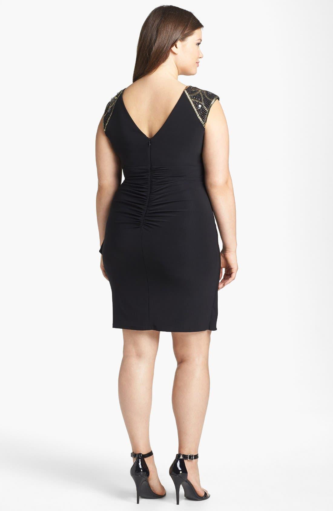 Alternate Image 2  - Xscape Embellished Side Drape Sheath Dress (Plus Size)