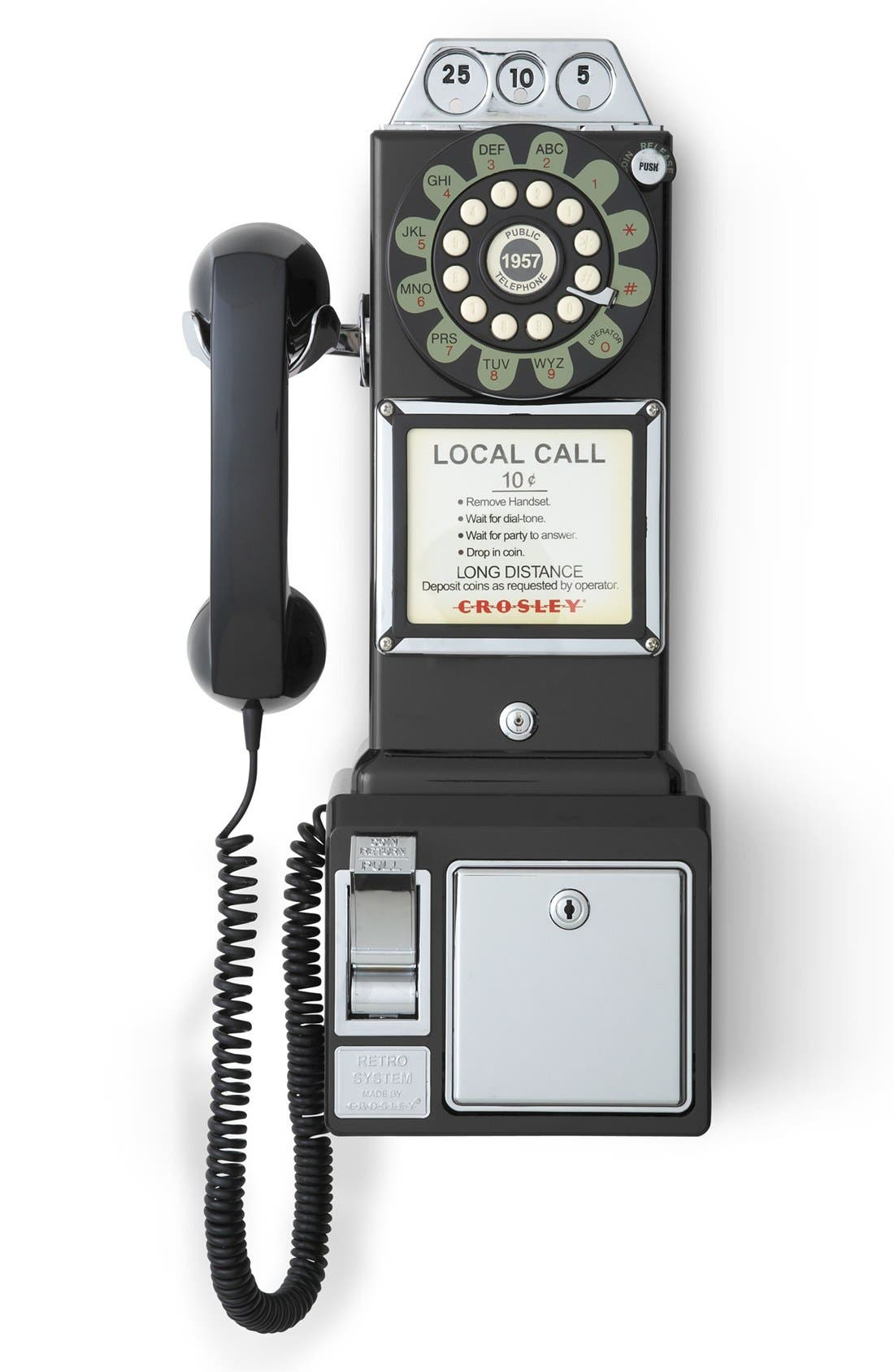 'Pay Phone' Wall Phone,                         Main,                         color, Black
