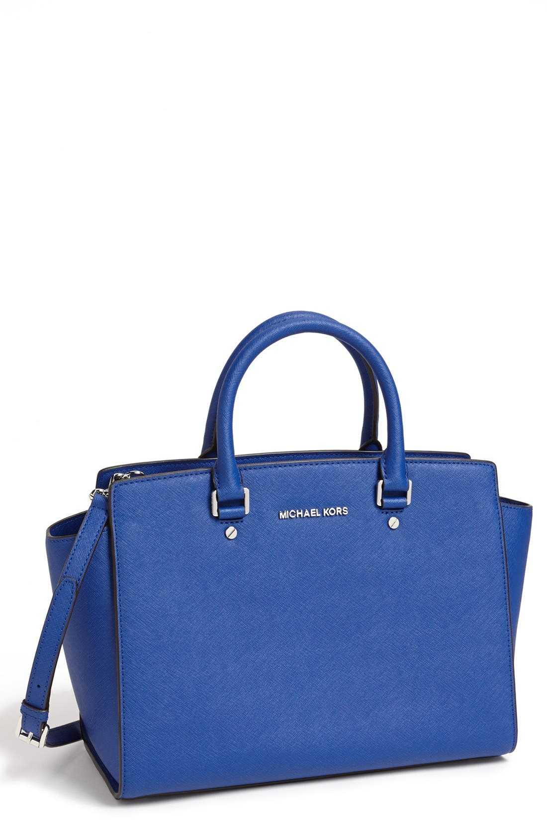 'Large Selma' Zip-Top Satchel,                         Main,                         color, Sapphire
