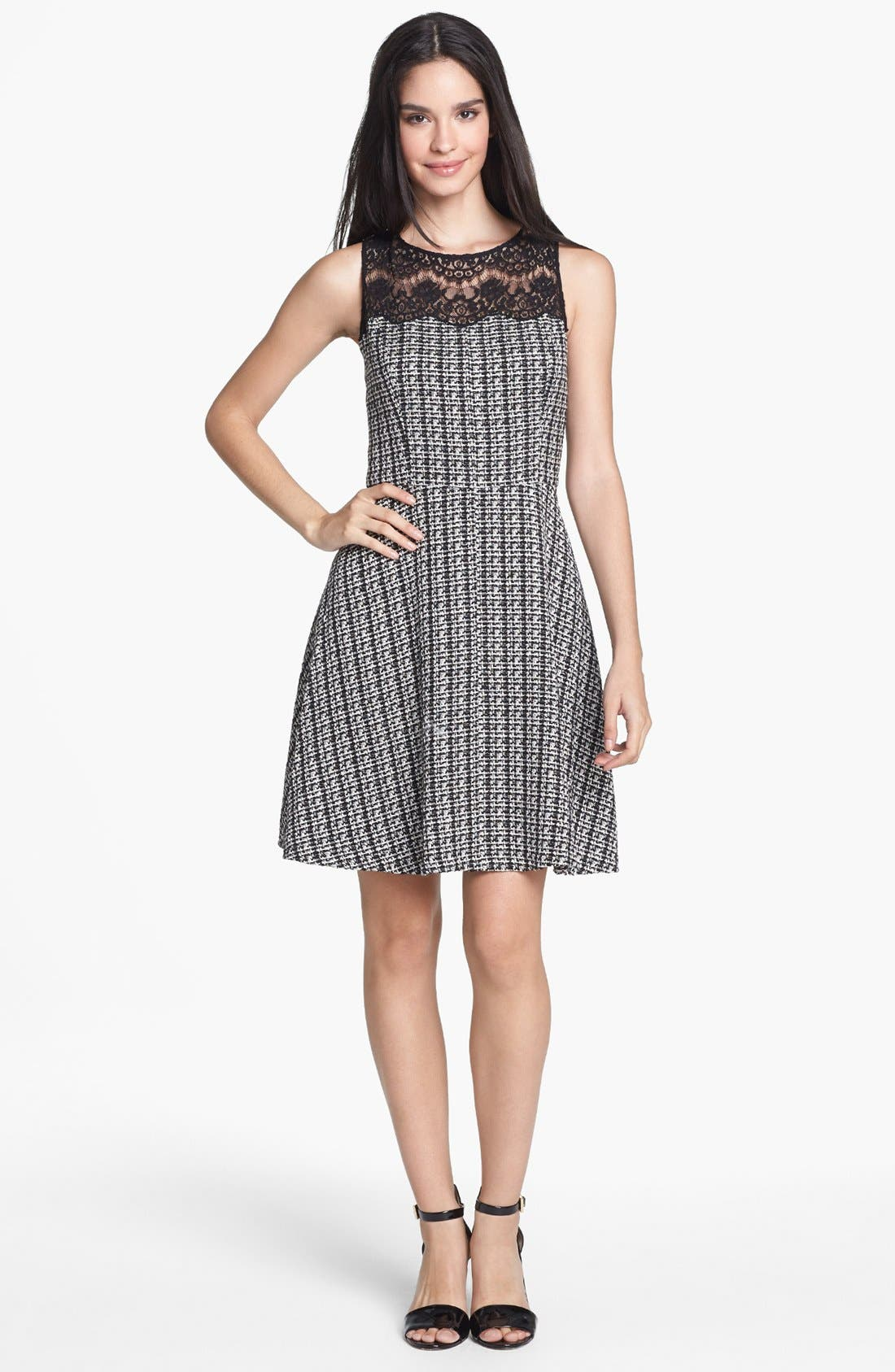 Main Image - Jessica Simpson Lace Yoke Bouclé Fit & Flare Dress