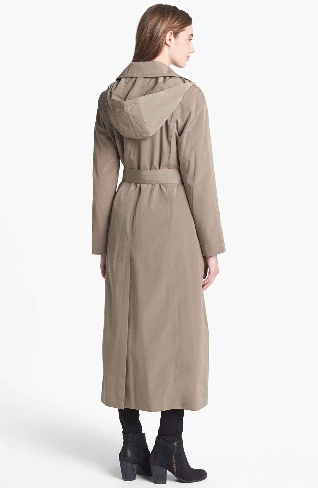 Alternate Image 2  - London Fog Long Trench Coat with Detachable Hood & Liner (Regular & Petite)