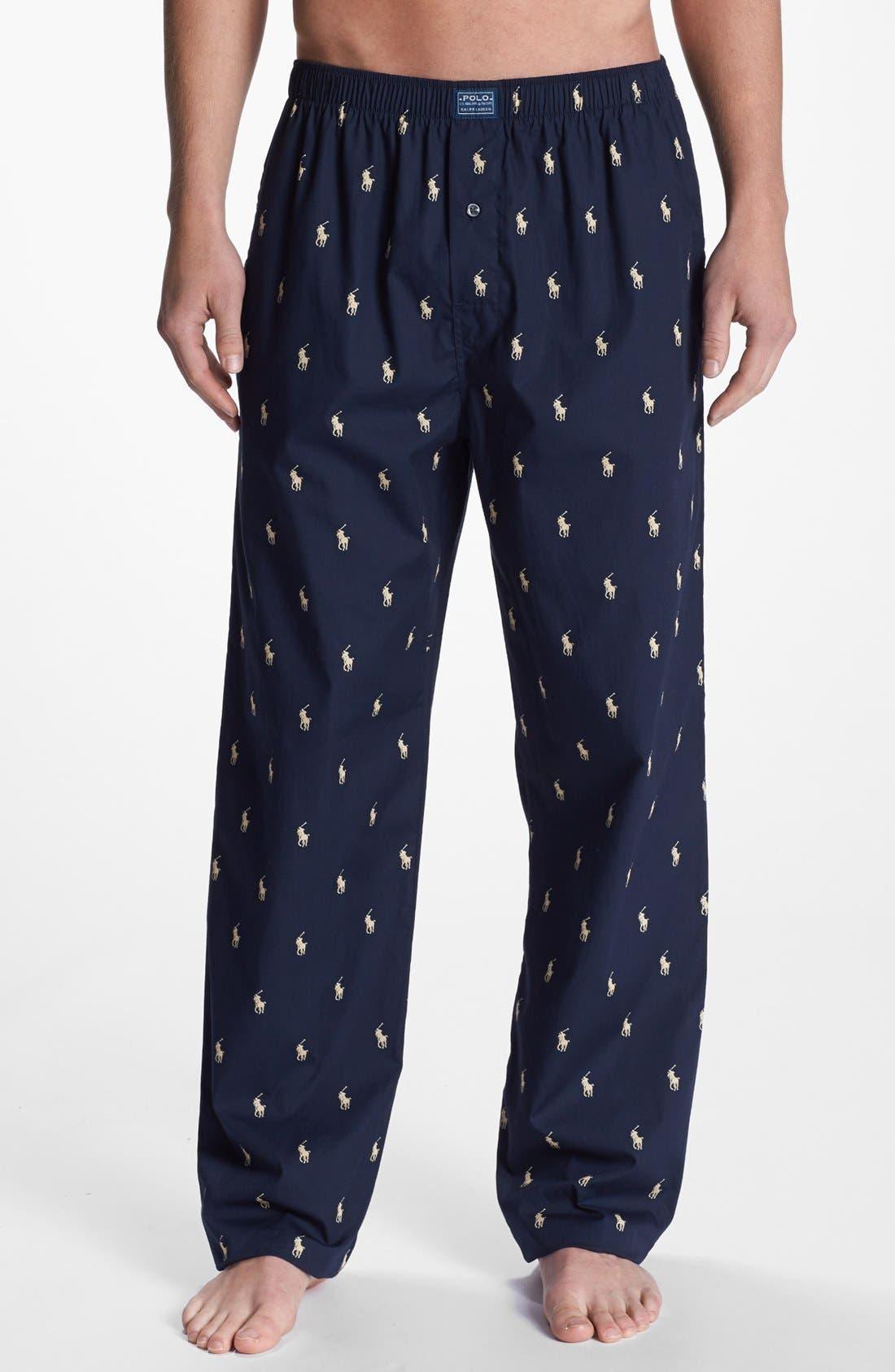 Cotton Lounge Pants,                         Main,                         color, Navy/ White