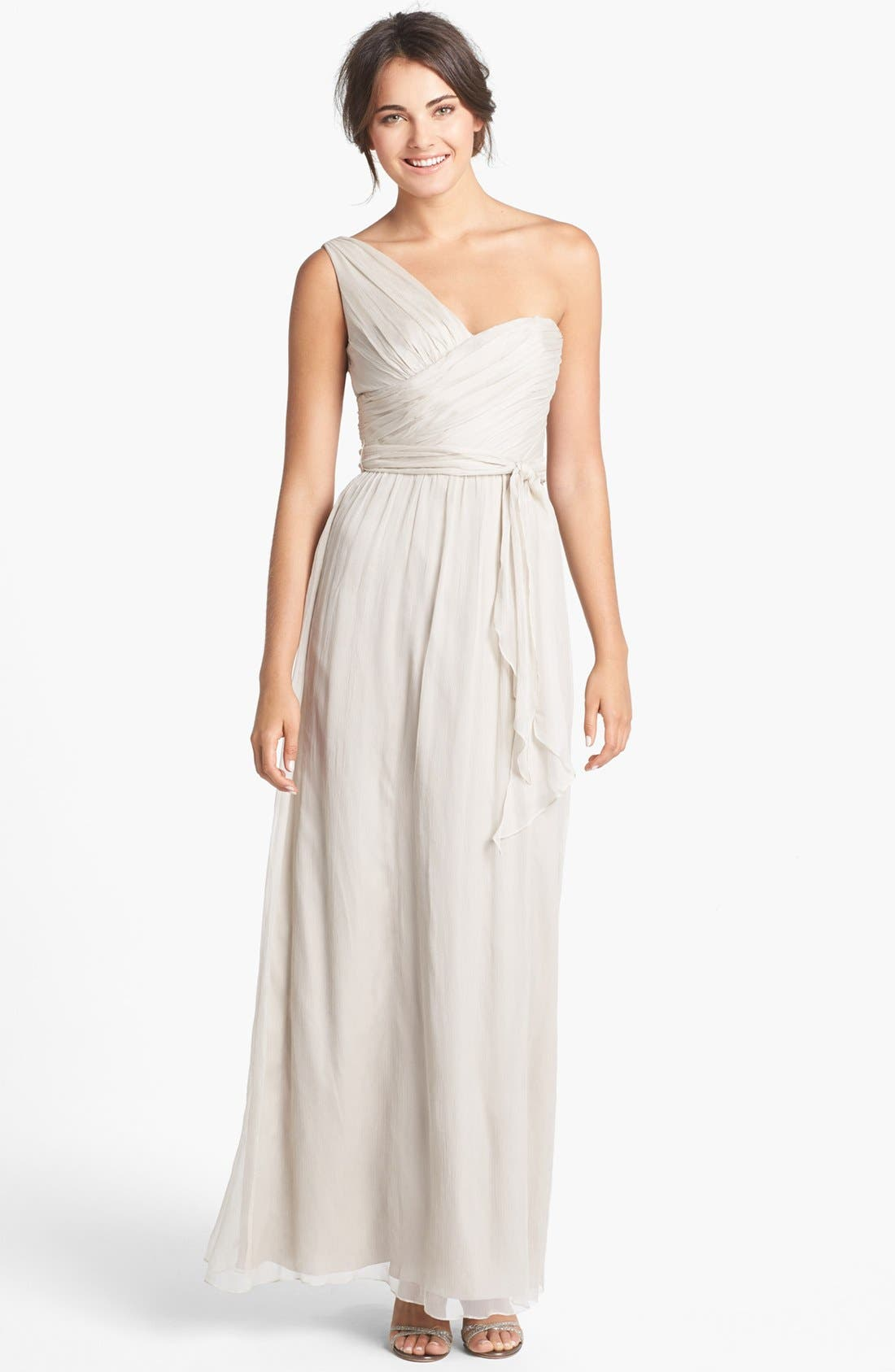Main Image - Amsale Ruched One-Shoulder Chiffon Gown