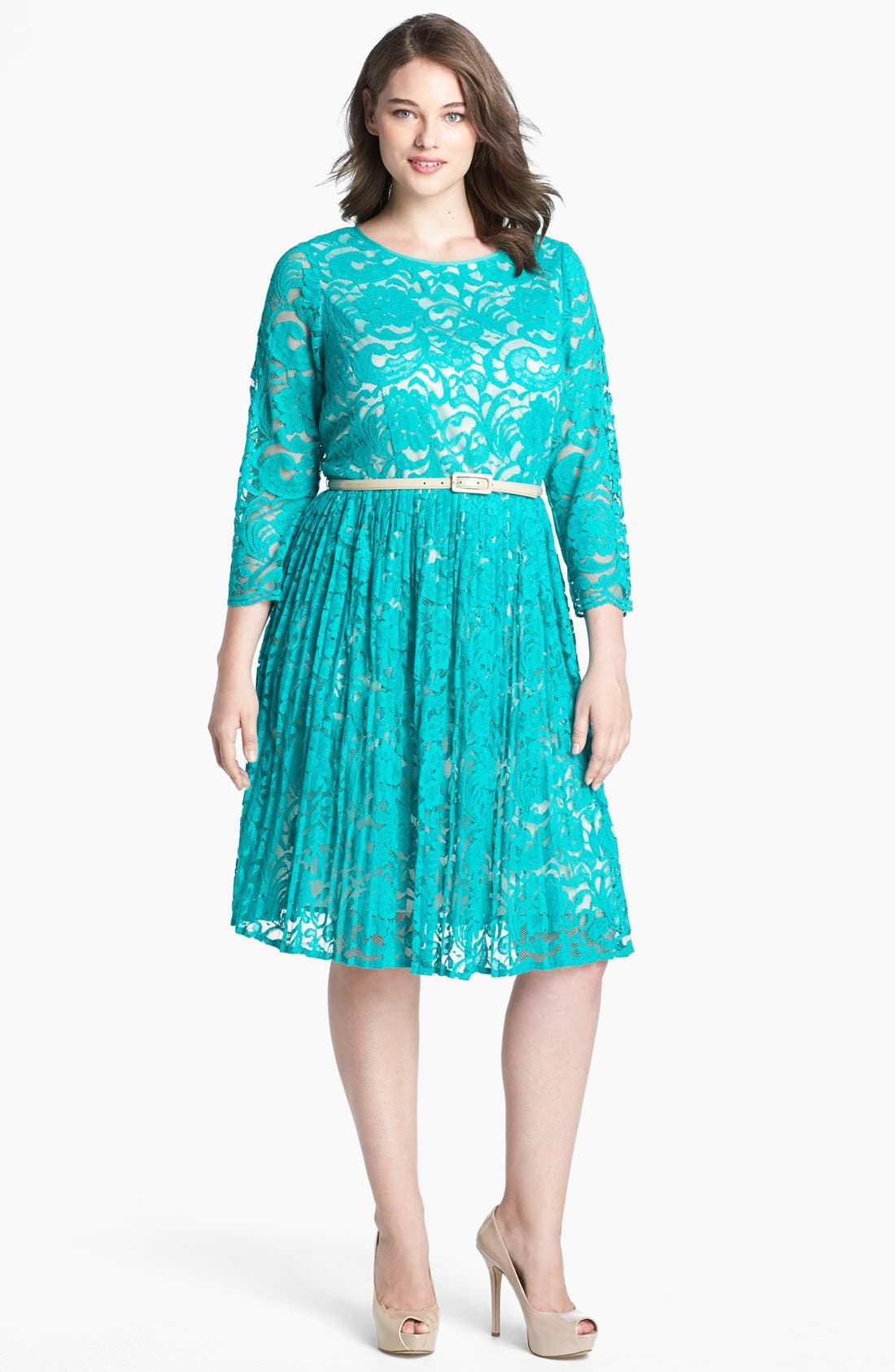 Alternate Image 1 Selected - Eliza J Lace Fit & Flare Dress (Plus Size)
