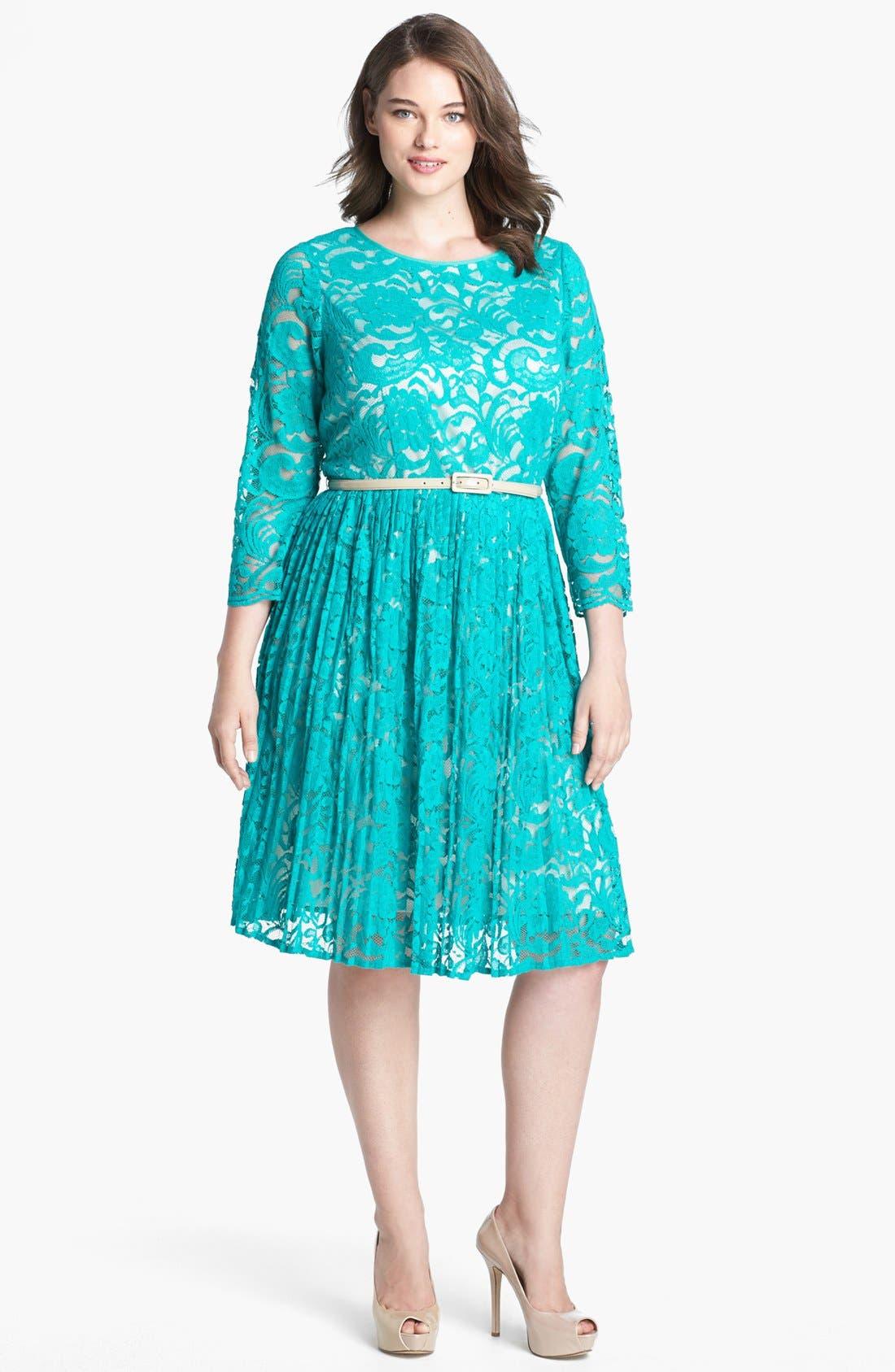 Main Image - Eliza J Lace Fit & Flare Dress (Plus Size)