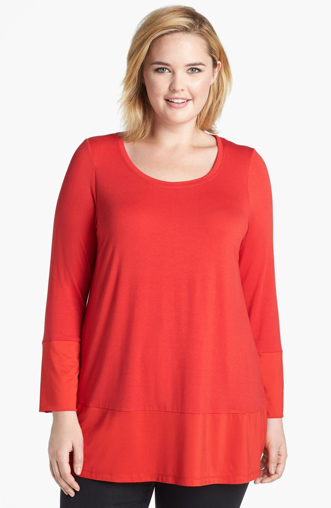 Main Image - Evans Mixed Media Top (Plus Size)
