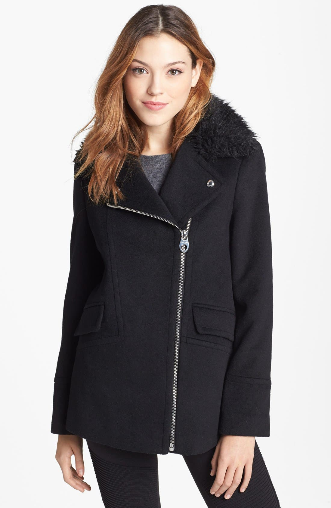 Alternate Image 1 Selected - Calvin Klein Faux Fur Collar Wool Blend Moto Coat