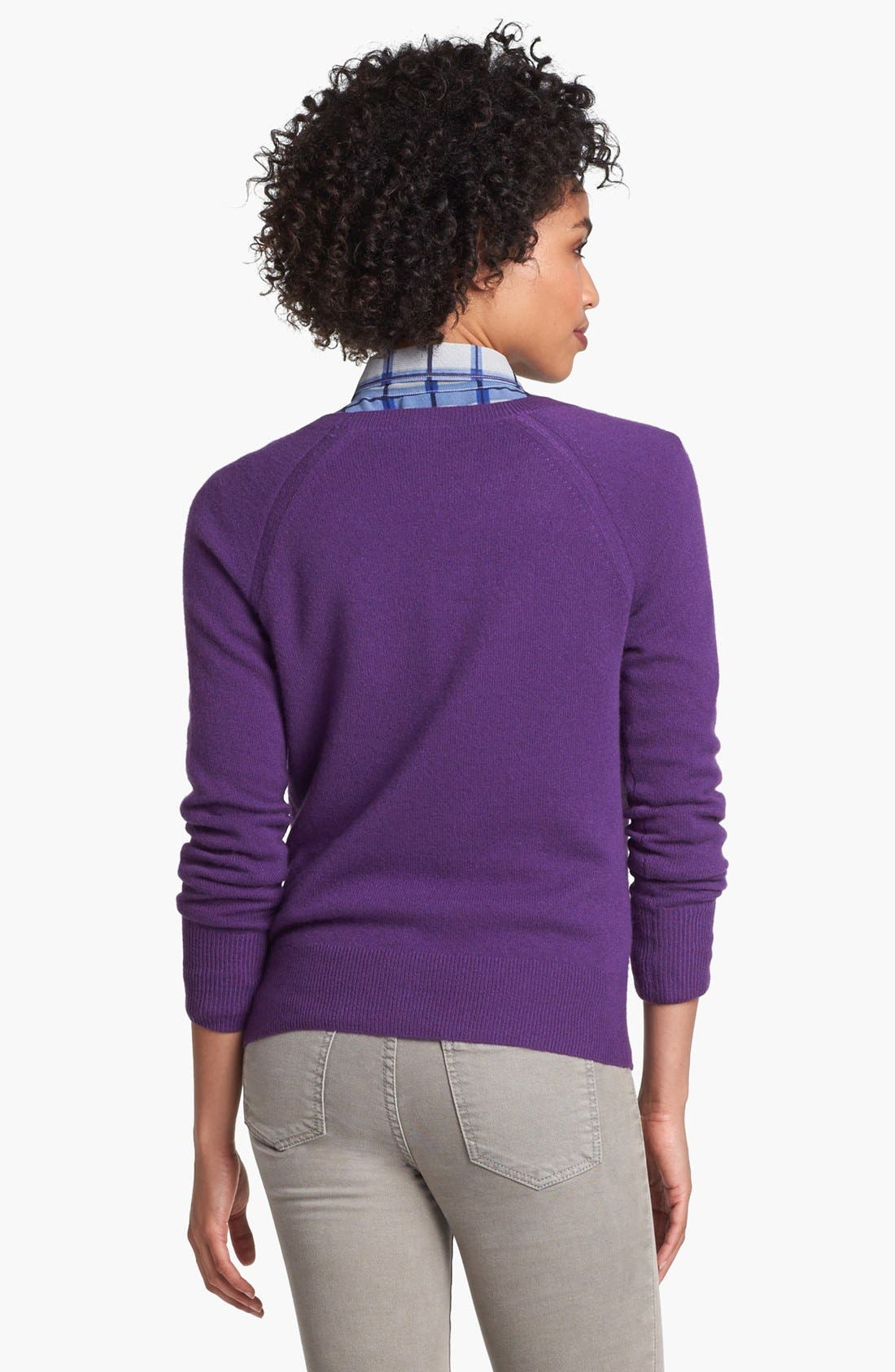 Alternate Image 2  - Halogen® Raglan Sleeve Cashmere Sweater (Petite)