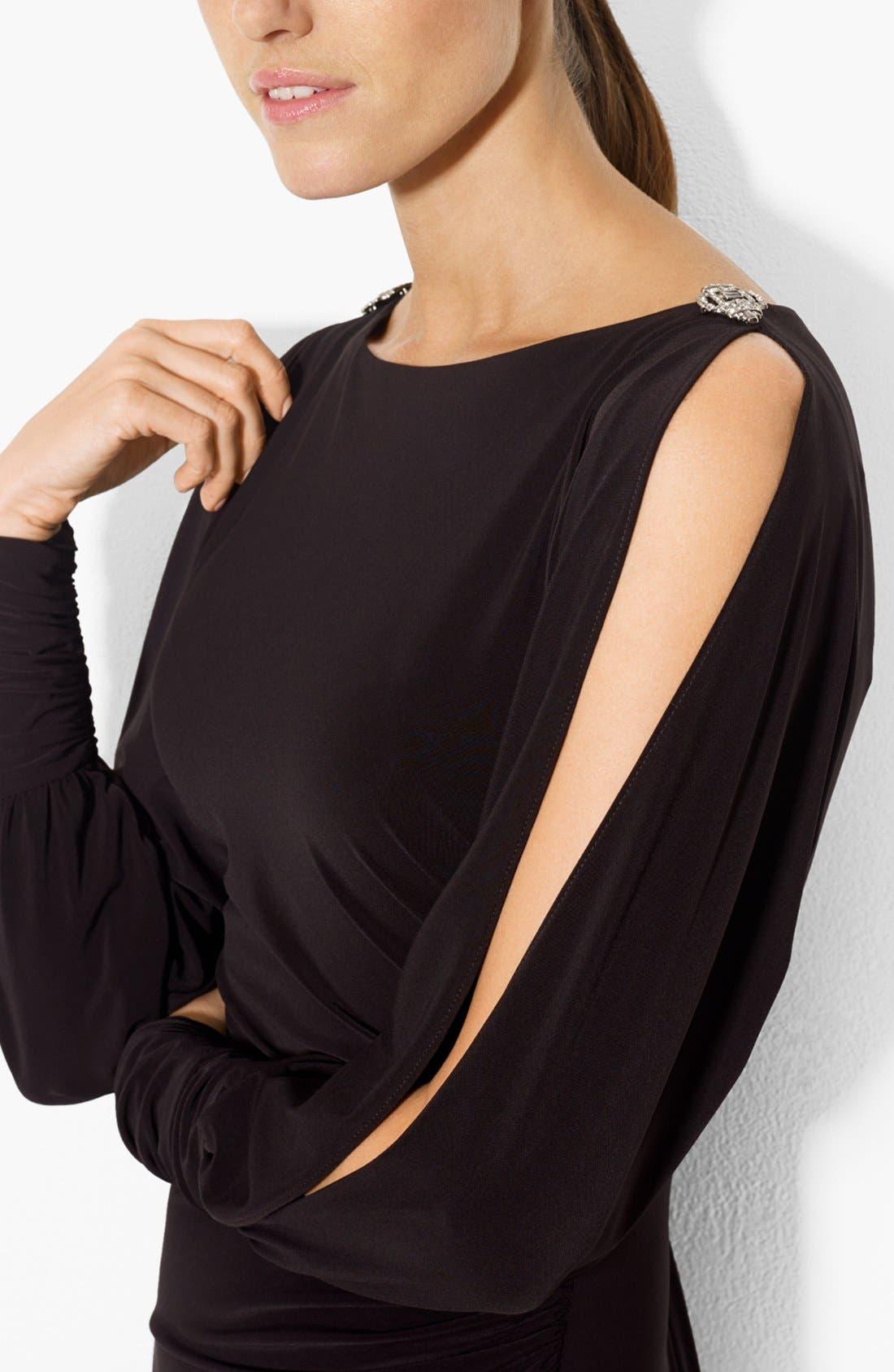 Alternate Image 3  - Lauren Ralph Lauren Split Sleeve Matte Jersey Sheath Dress