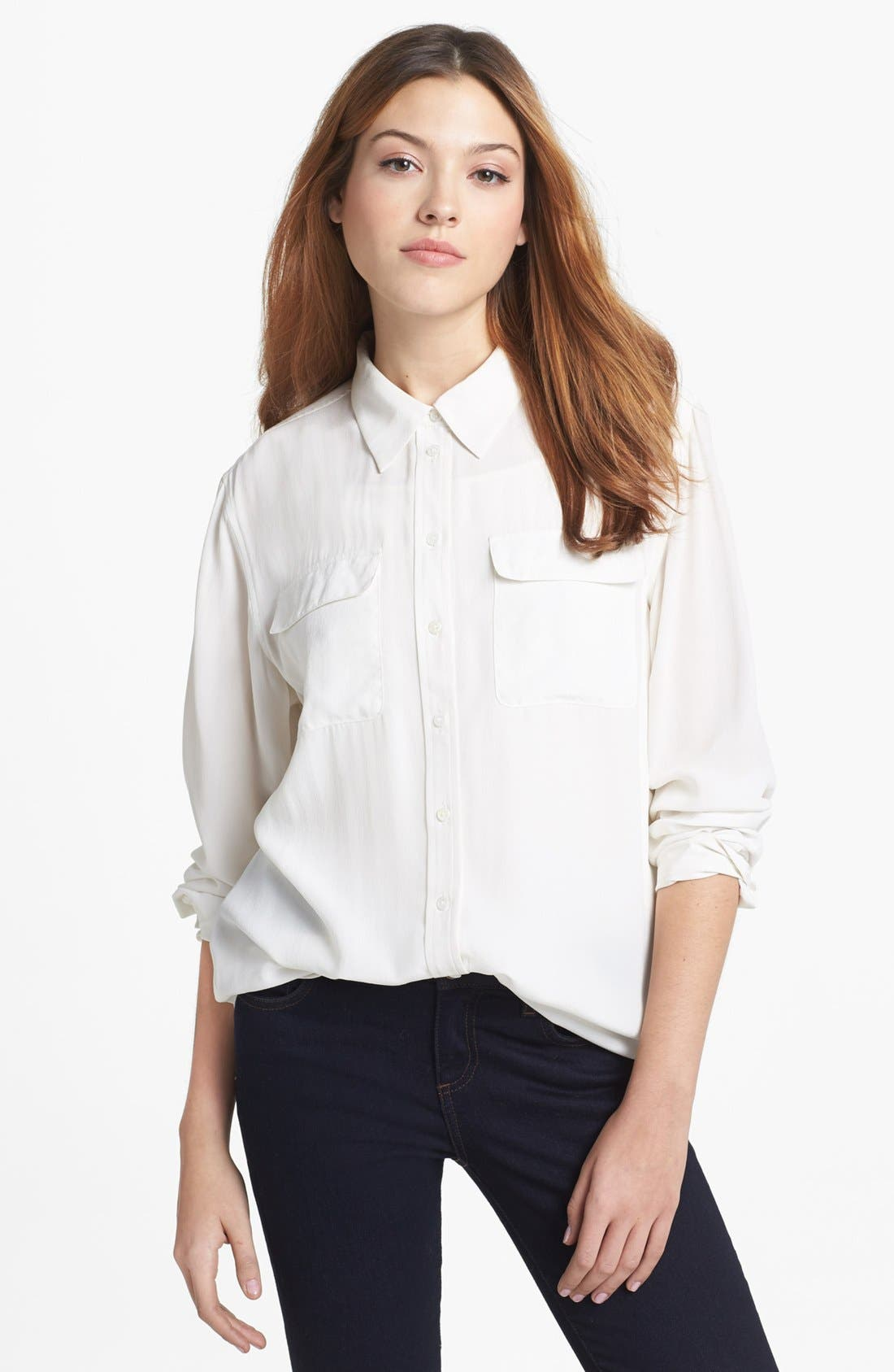 Alternate Image 2  - Two by Vince Camuto Silk Utility Blouse