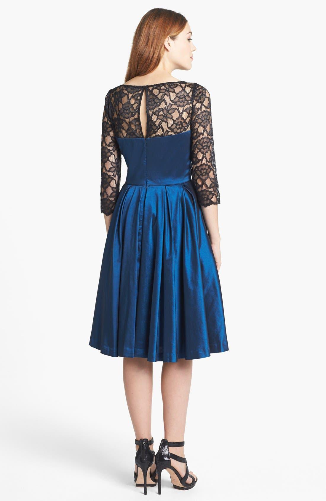 Alternate Image 2  - Maggy London Lace Yoke Taffeta Fit & Flare Dress