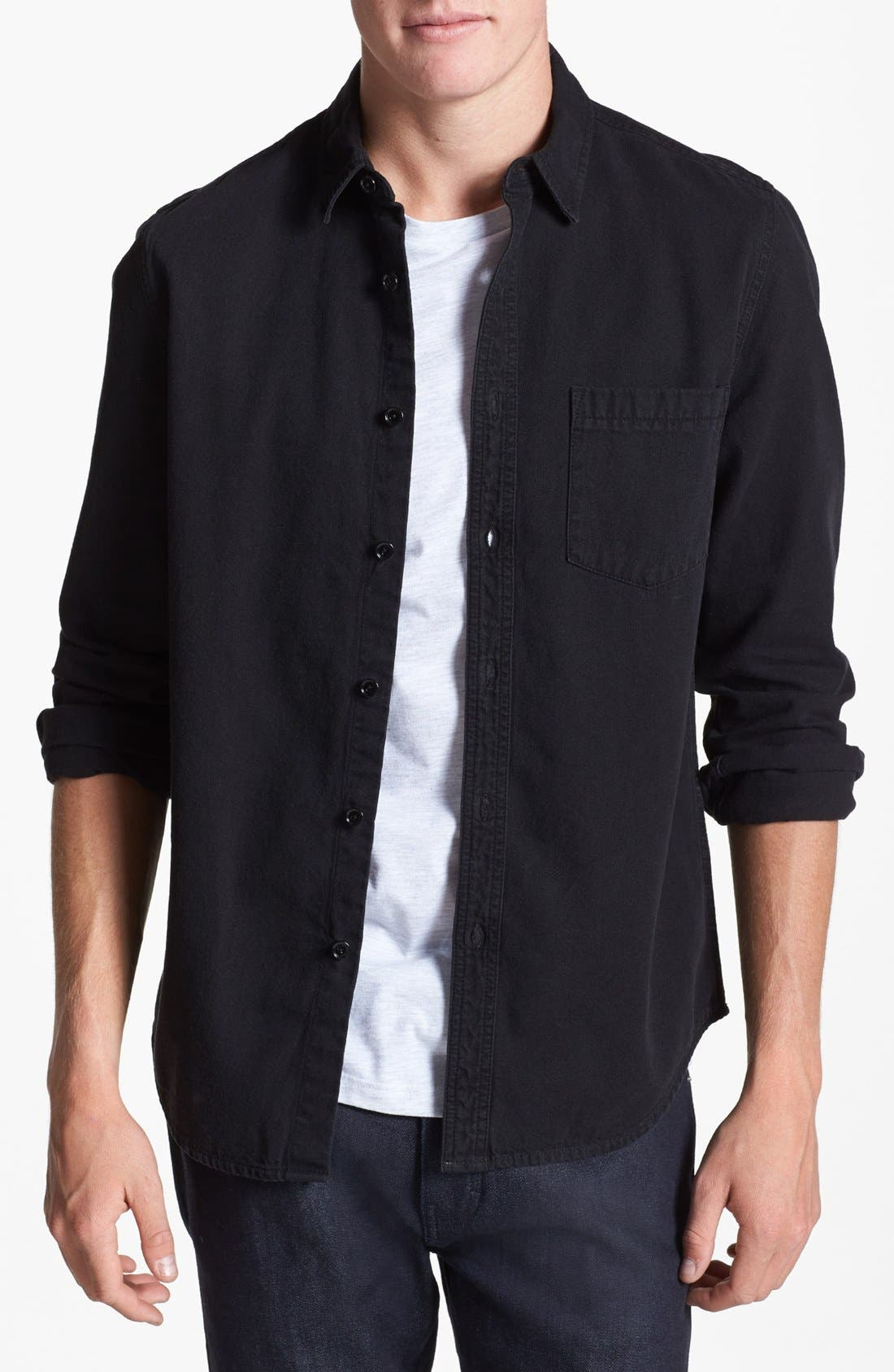 Alternate Image 1 Selected - Topman Black Denim Shirt