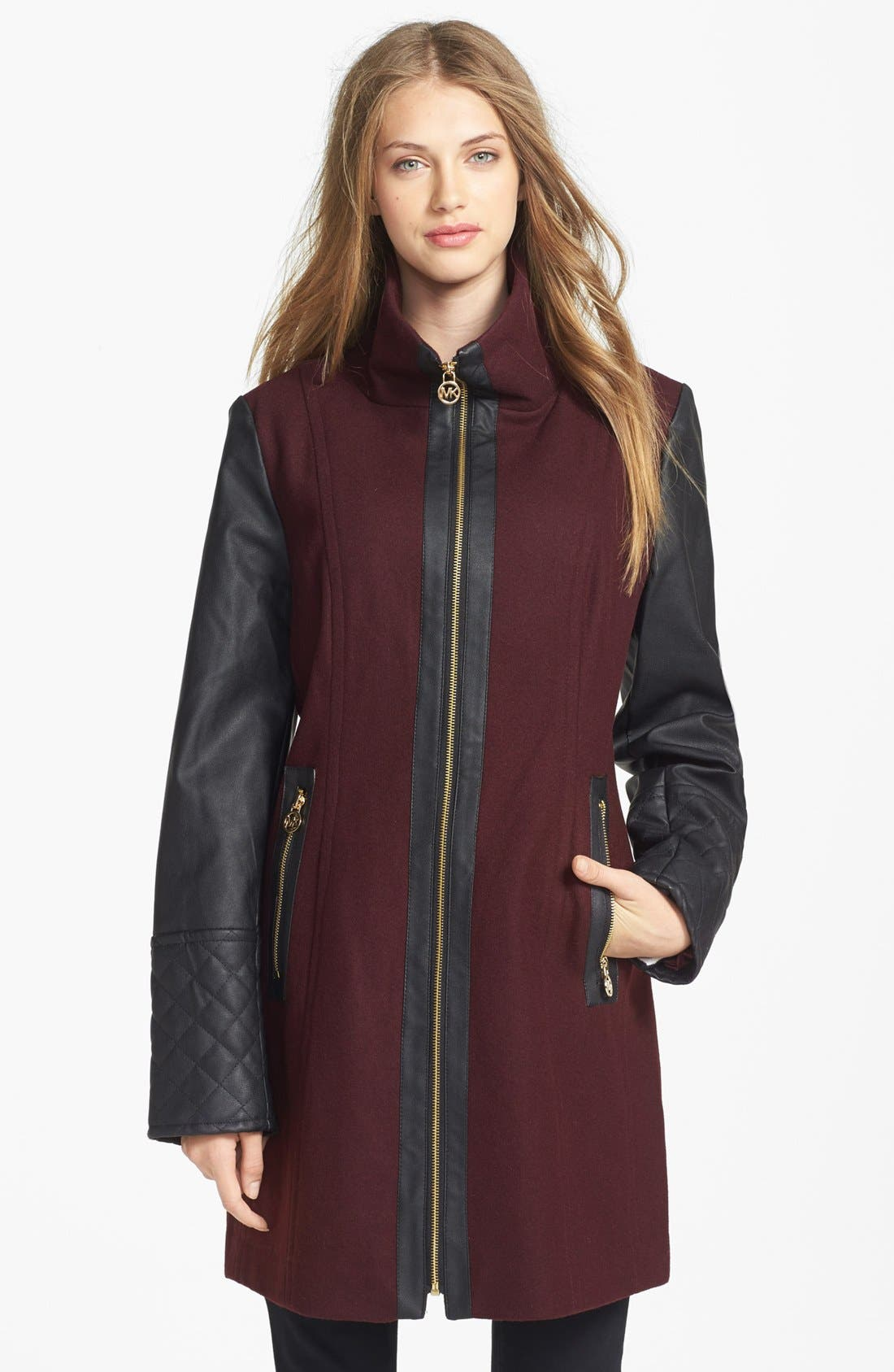 Main Image - MICHAEL Michael Kors Faux Leather Sleeve Wool Blend Coat